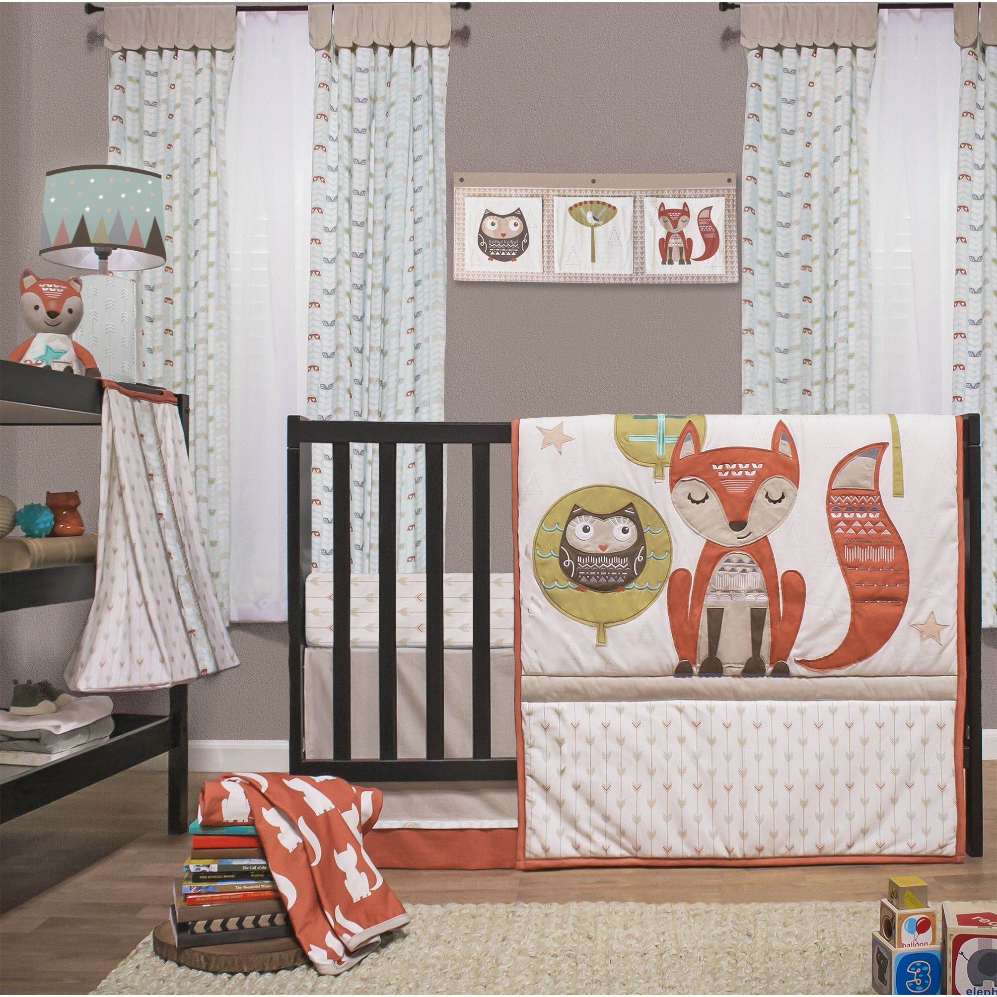 Full Crib Bedding Sets Little Haven Clever Fox 4 Piece Crib Bedding Set