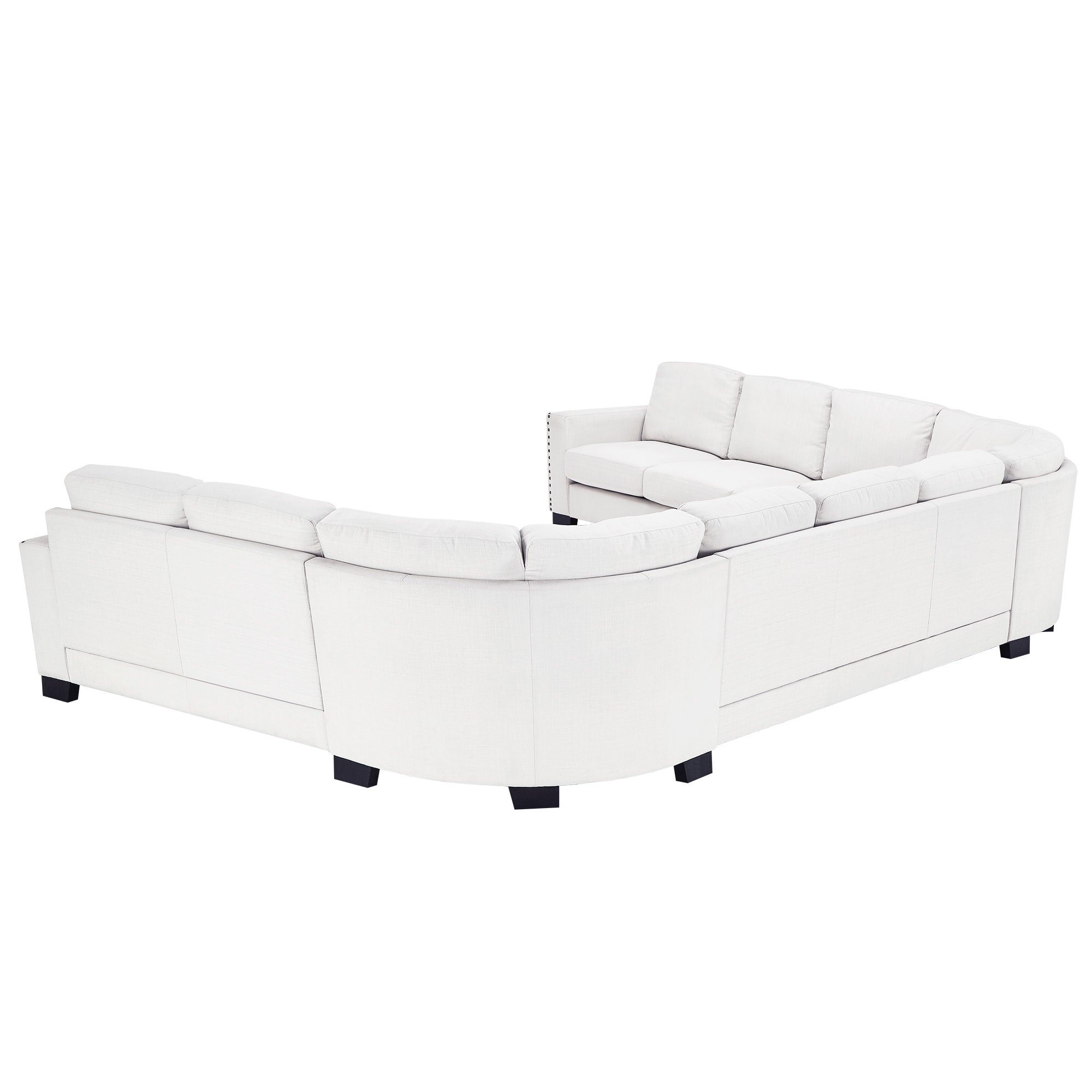U Sofa Torrington Off White Linen Nailhead Track Arm U Shaped Configurable Sectional By Inspire Q Classic