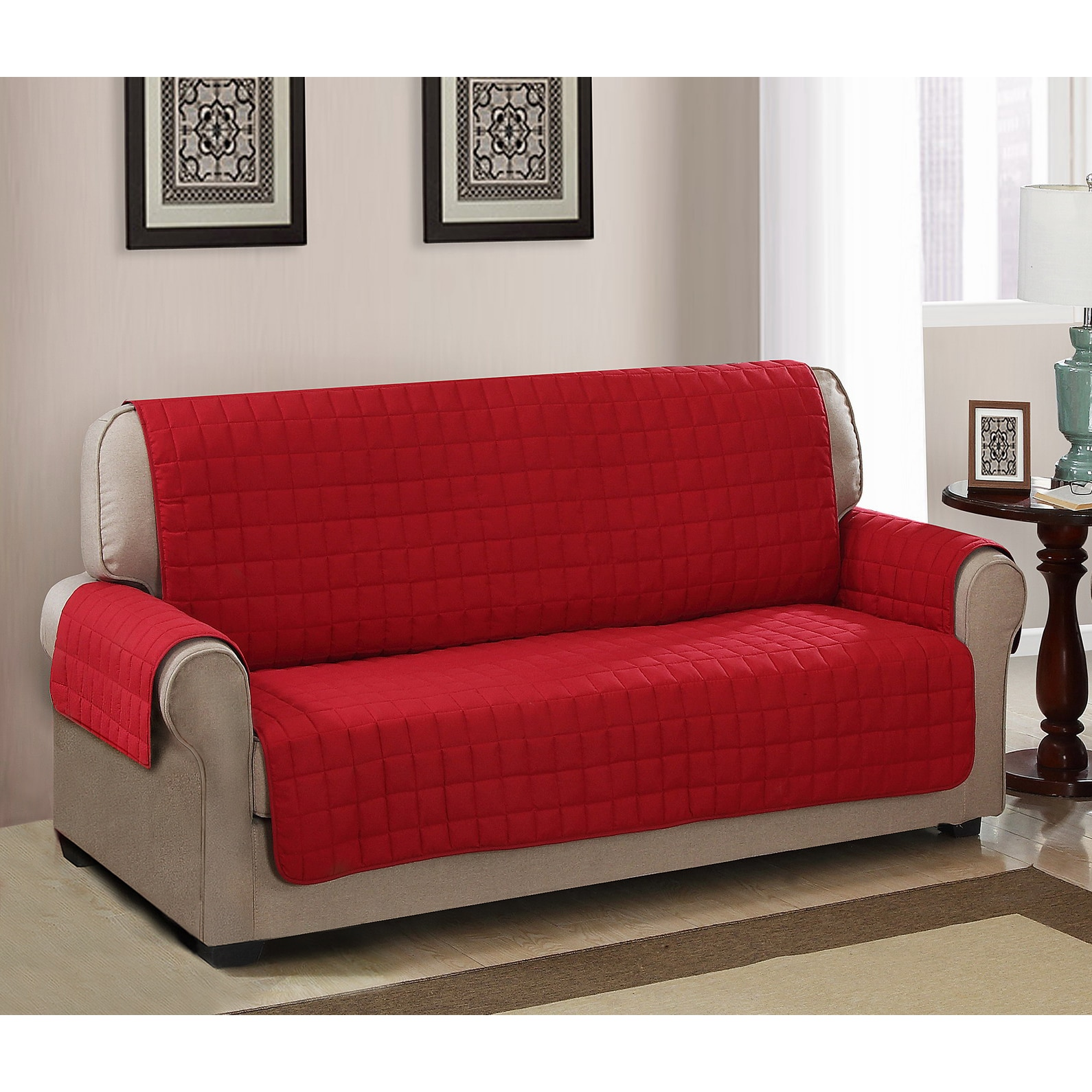 Home Sofa In A Box Chic Home Jonathan Box Quilted Quick Draped Red Sofa Cover