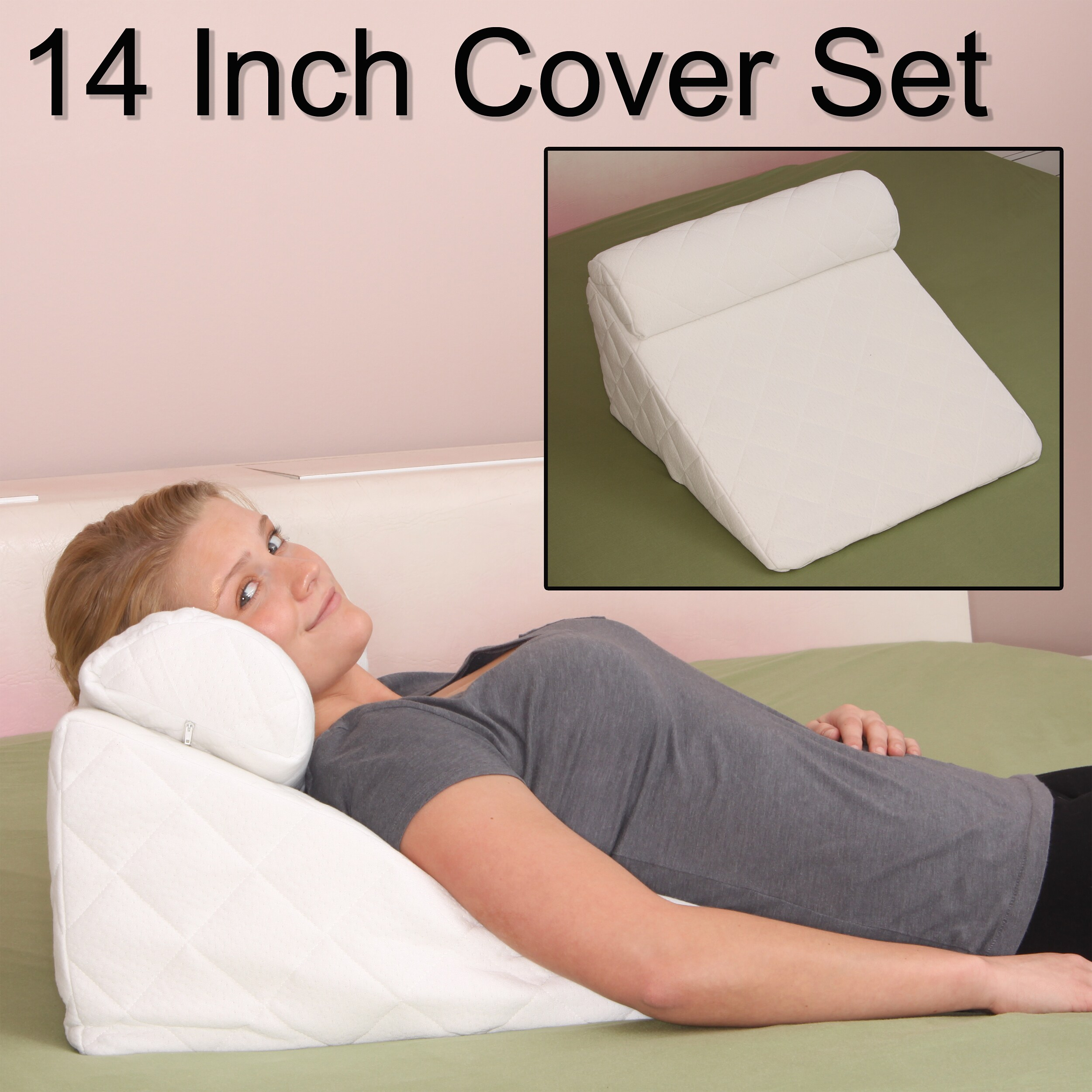 Angled Pillow For Acid Reflux Deluxe Comfort Cover For Bed Wedge Pillow Set 383 Thread Count Pillow Cover White