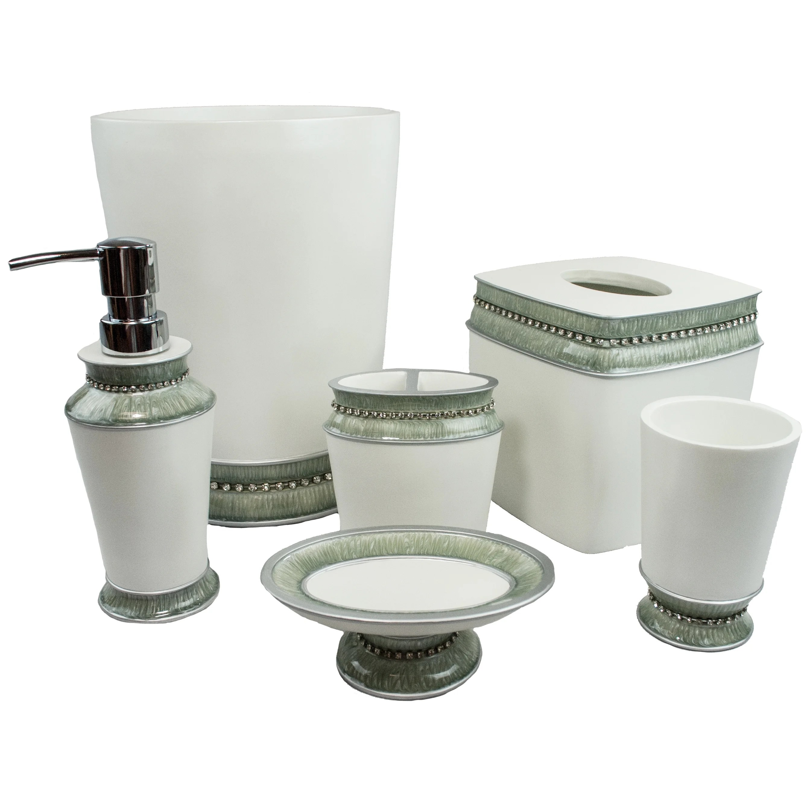 Bathroom Dispenser Set Sherry Kline Victoria Jewel 6 Piece Bath Accessory Set 4 Color Options