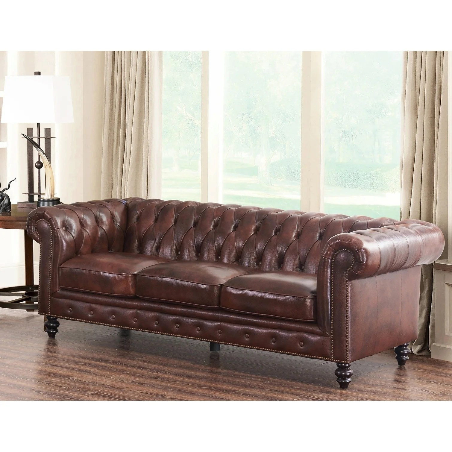 Brown Real Leather Couch Abbyson Grand Chesterfield Brown Top Grain Leather Sofa
