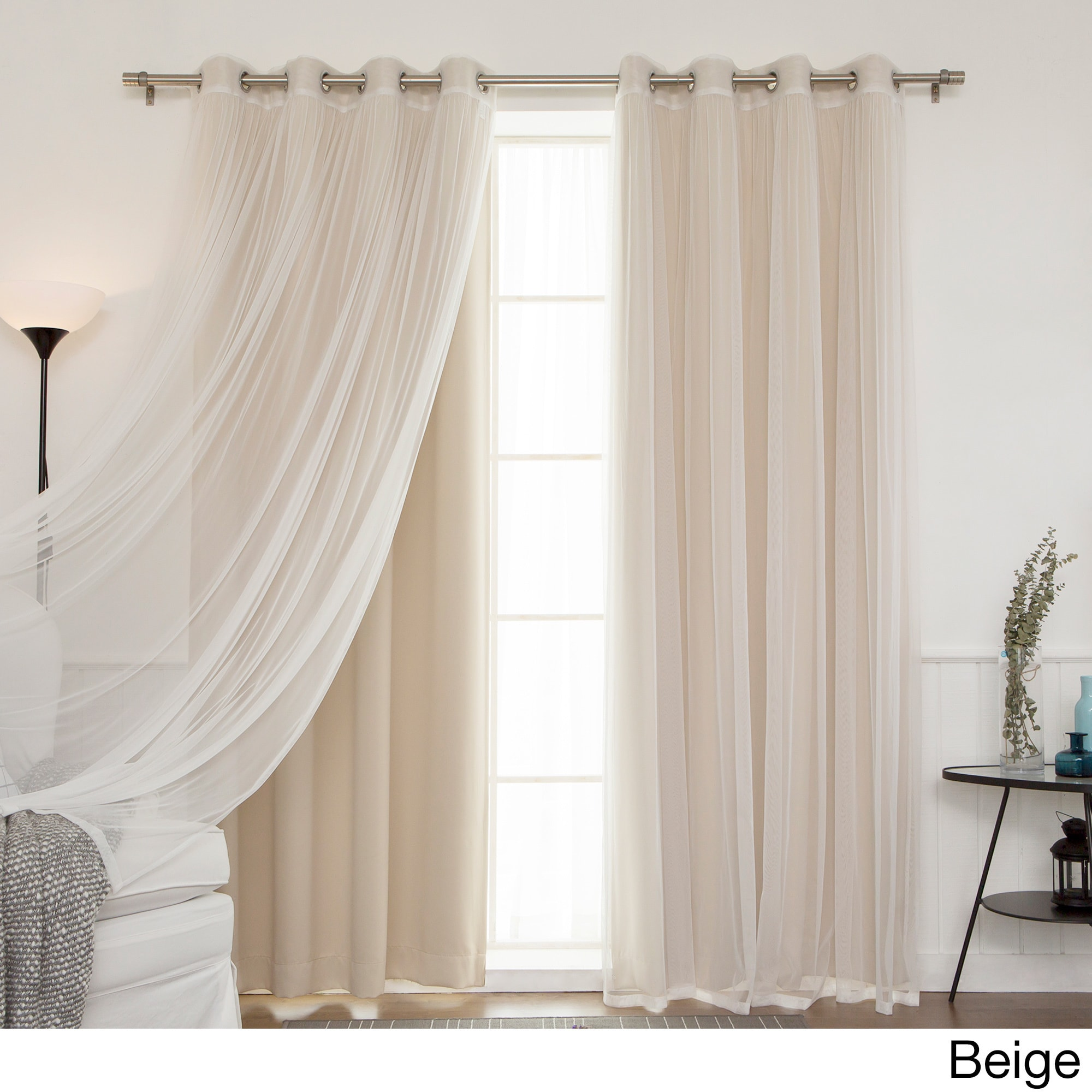94 Inch Blackout Curtains Aurora Home Mix And Match Blackout Tulle Lace Sheer 4 Piece Curtain Panel Set