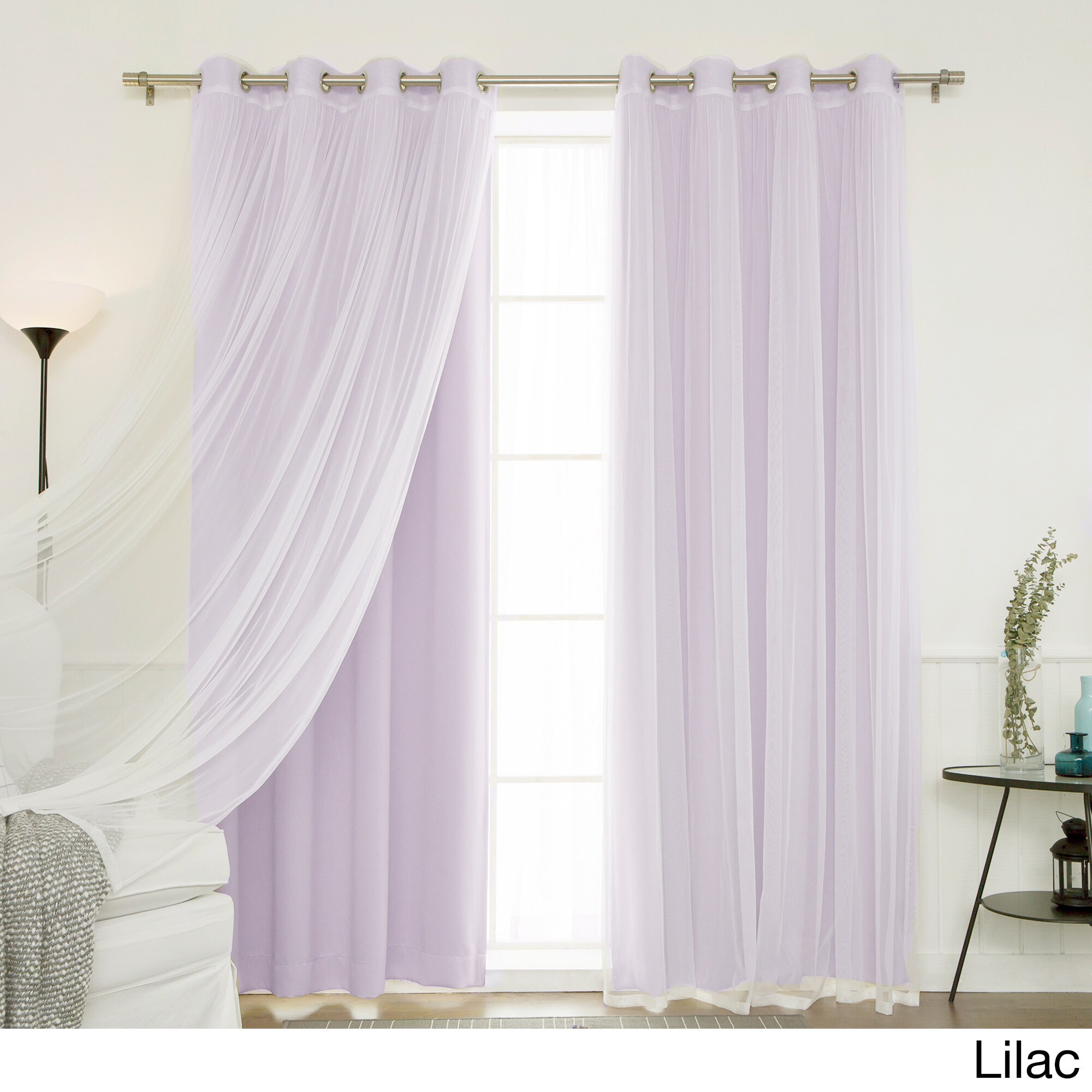 Lavender Sheer Curtains Aurora Home Mix And Match Blackout Tulle Lace Sheer 4 Piece Curtain Panel Set