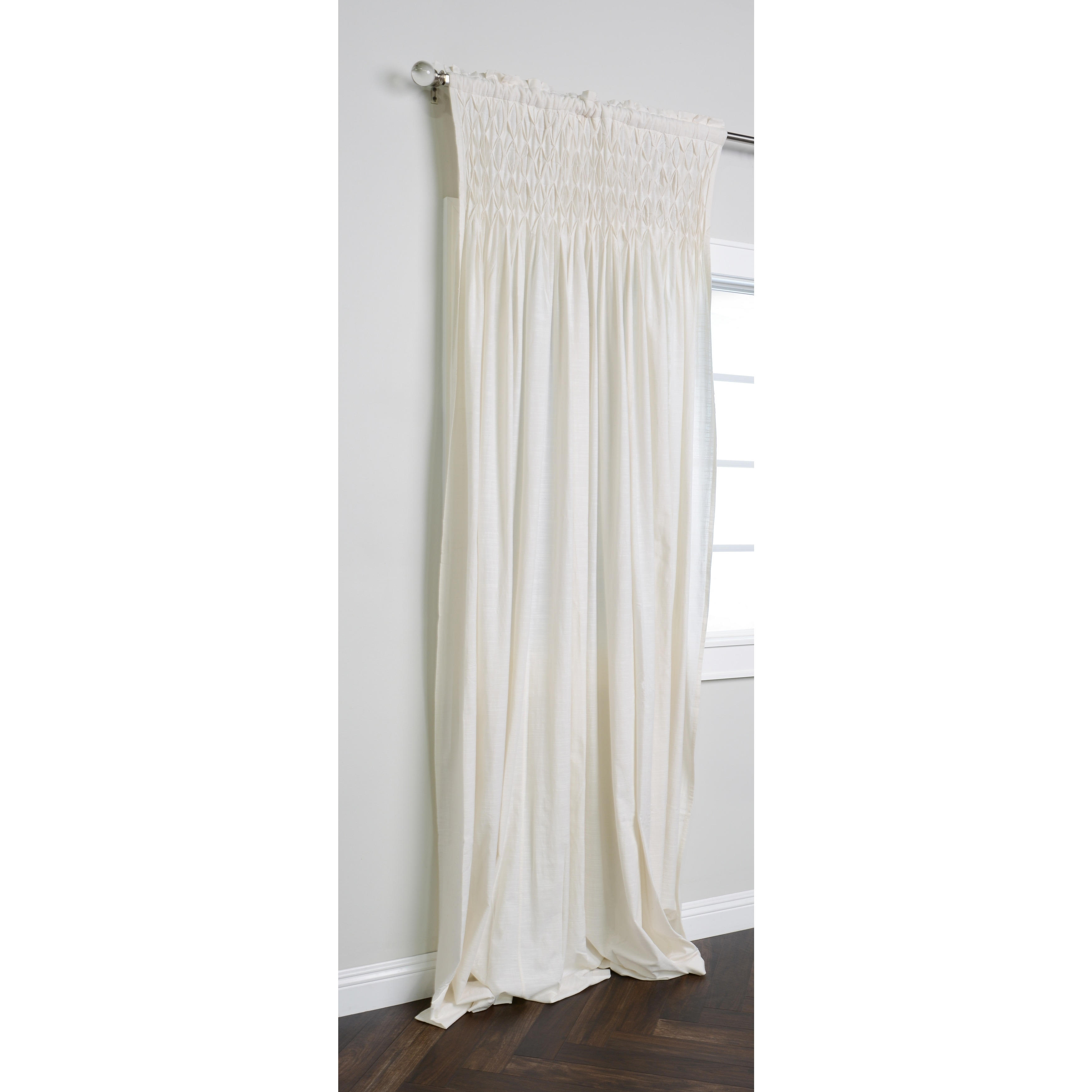 108 Long Shower Curtain Kosas Home Samuel 108 Inch Cream Cotton Smocked Curtain Panel