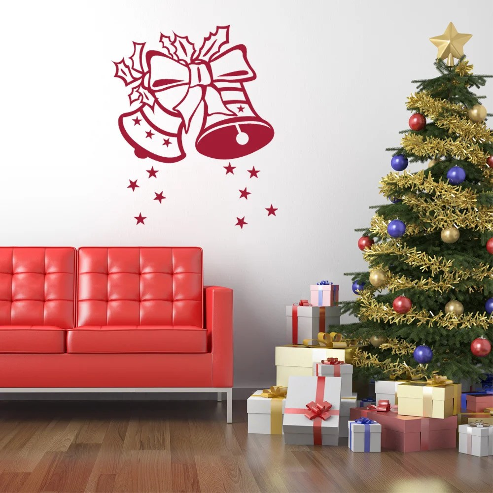Décoration Murale Vinyle Style And Apply Christmas Bells Mural Vinyl Art Home Decor Wall Decal Sticker