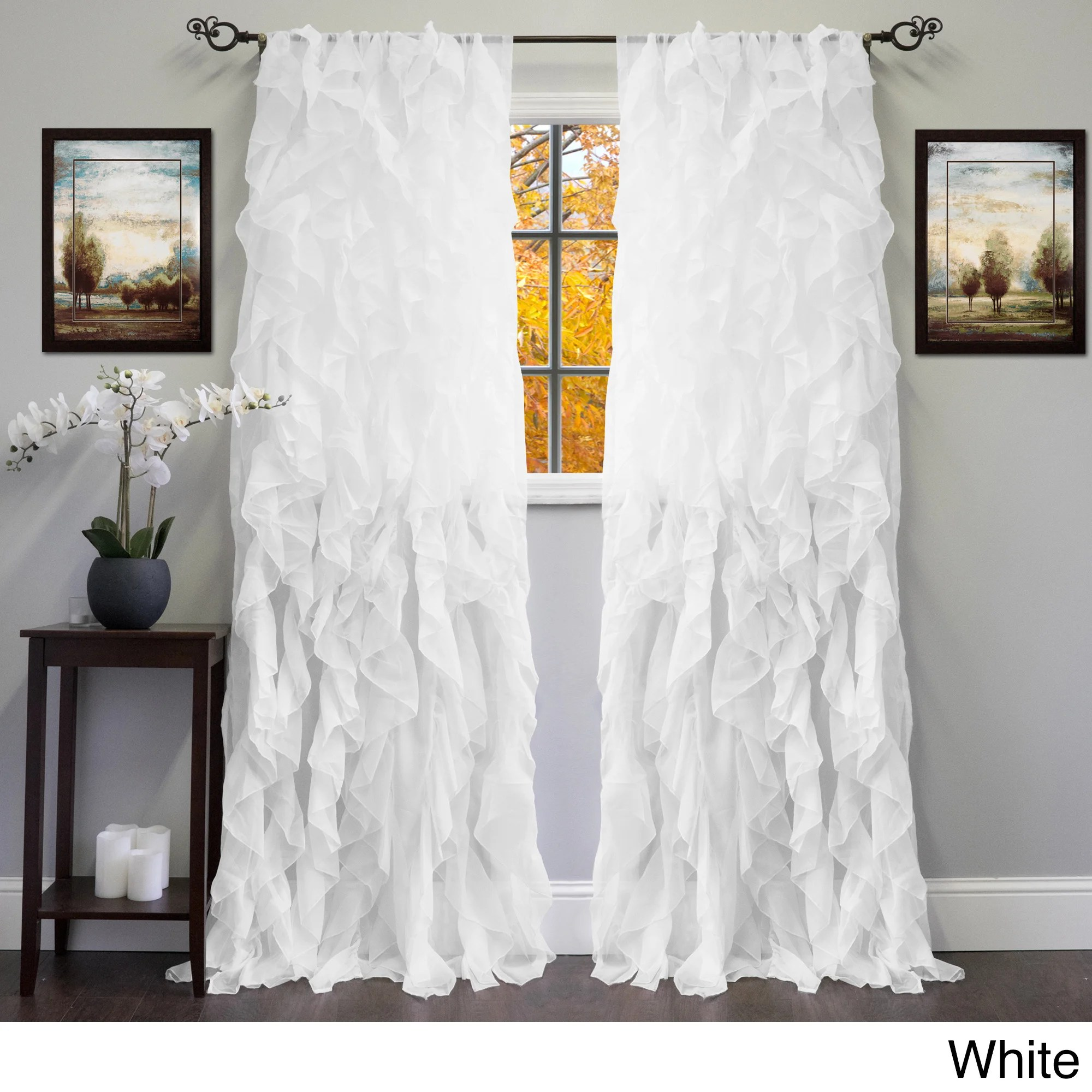 Ruffle Curtain Panel Sheer Voile Ruffled Tier Window Curtain Panel 50 X 84