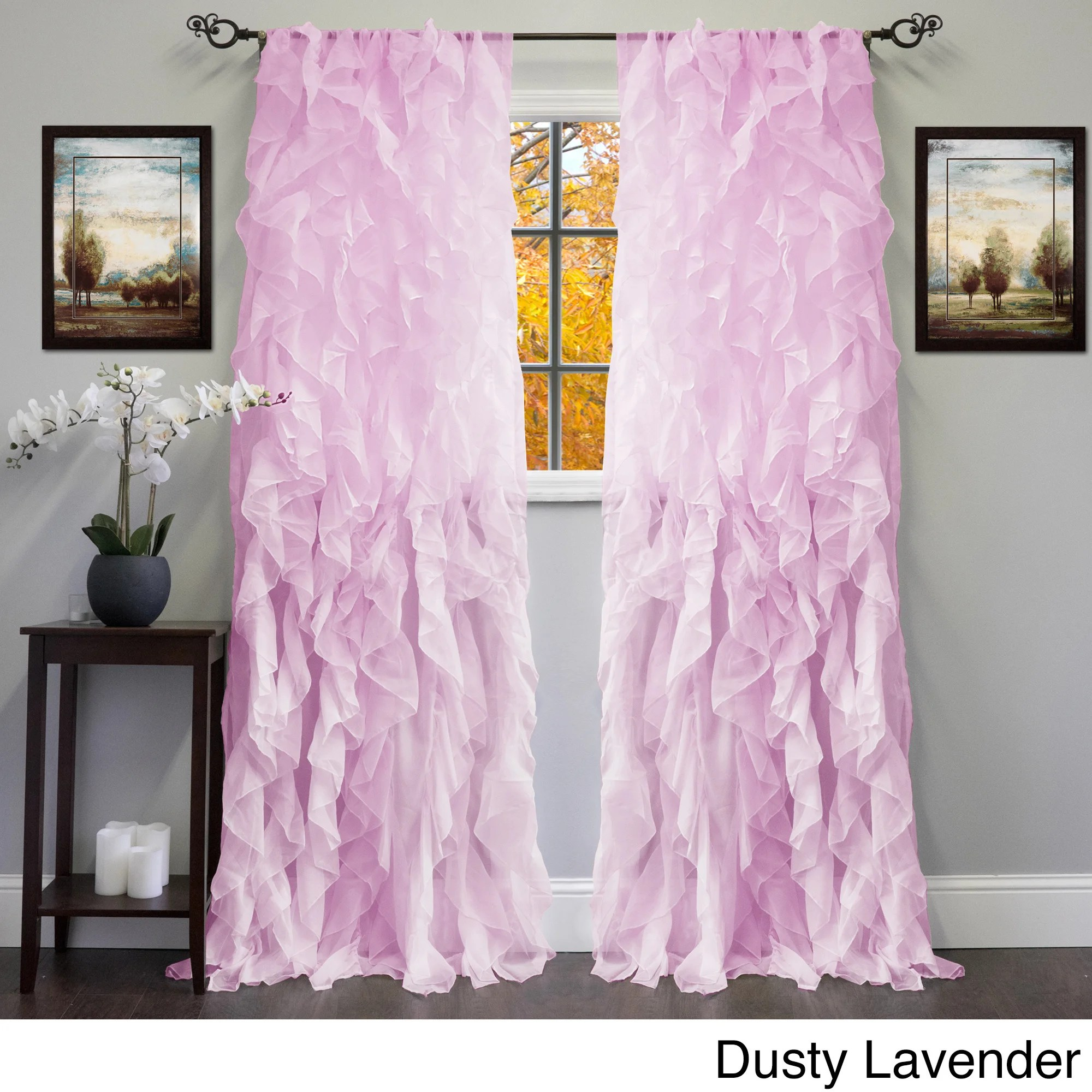 Lavender Sheer Curtains Sheer Voile Ruffled Tier Window Curtain Panel 50 X 84