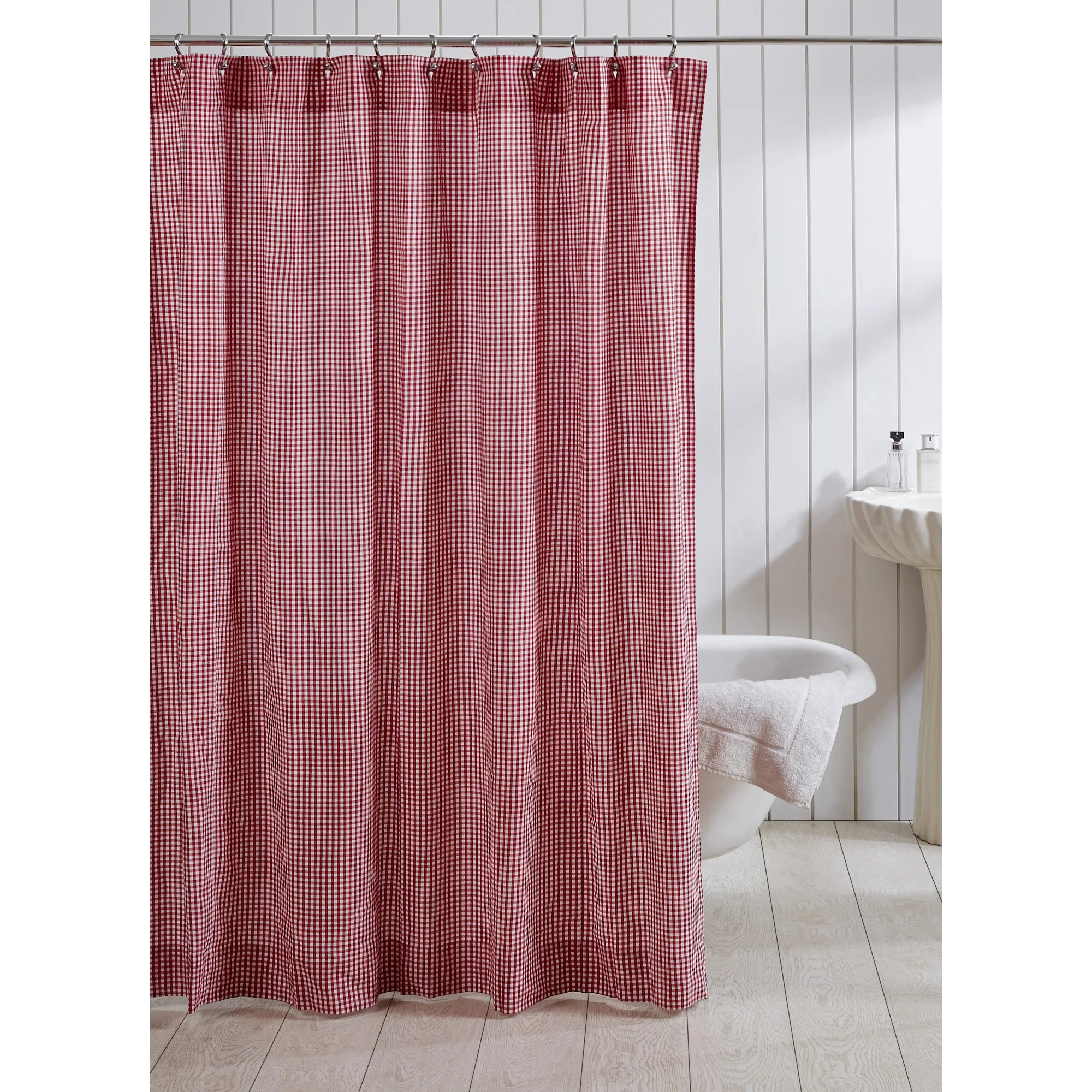 Red And Brown Shower Curtain Red Gingham Cotton Shower Curtain
