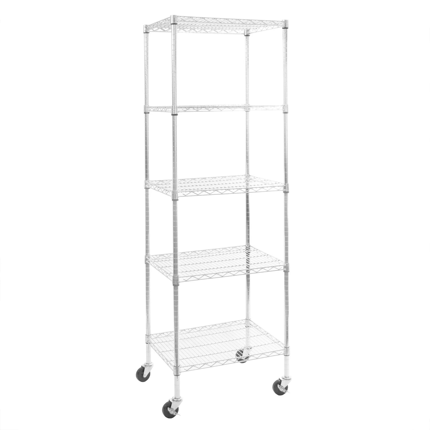Metal Shelving Seville Classics 24 In W X 18 In D X 72 In H Ultradurable Commercial Grade 5 Tier Nsf Certified Steel Wire Shelving With Wheels