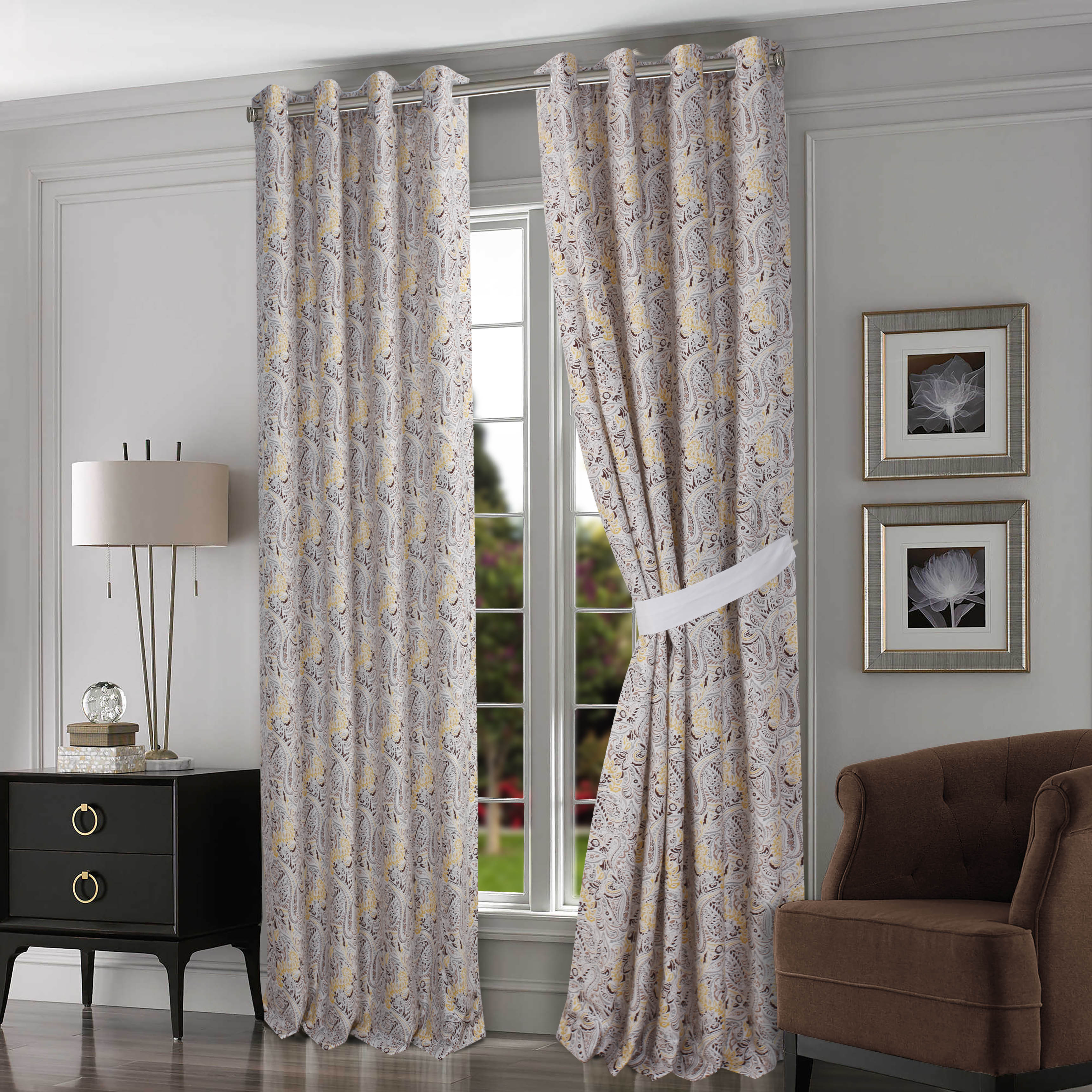 How To Make Lined Curtain Panels Fiji Chocolate Grey Cotton Lined Curtain Panel Pair With Tiebacks