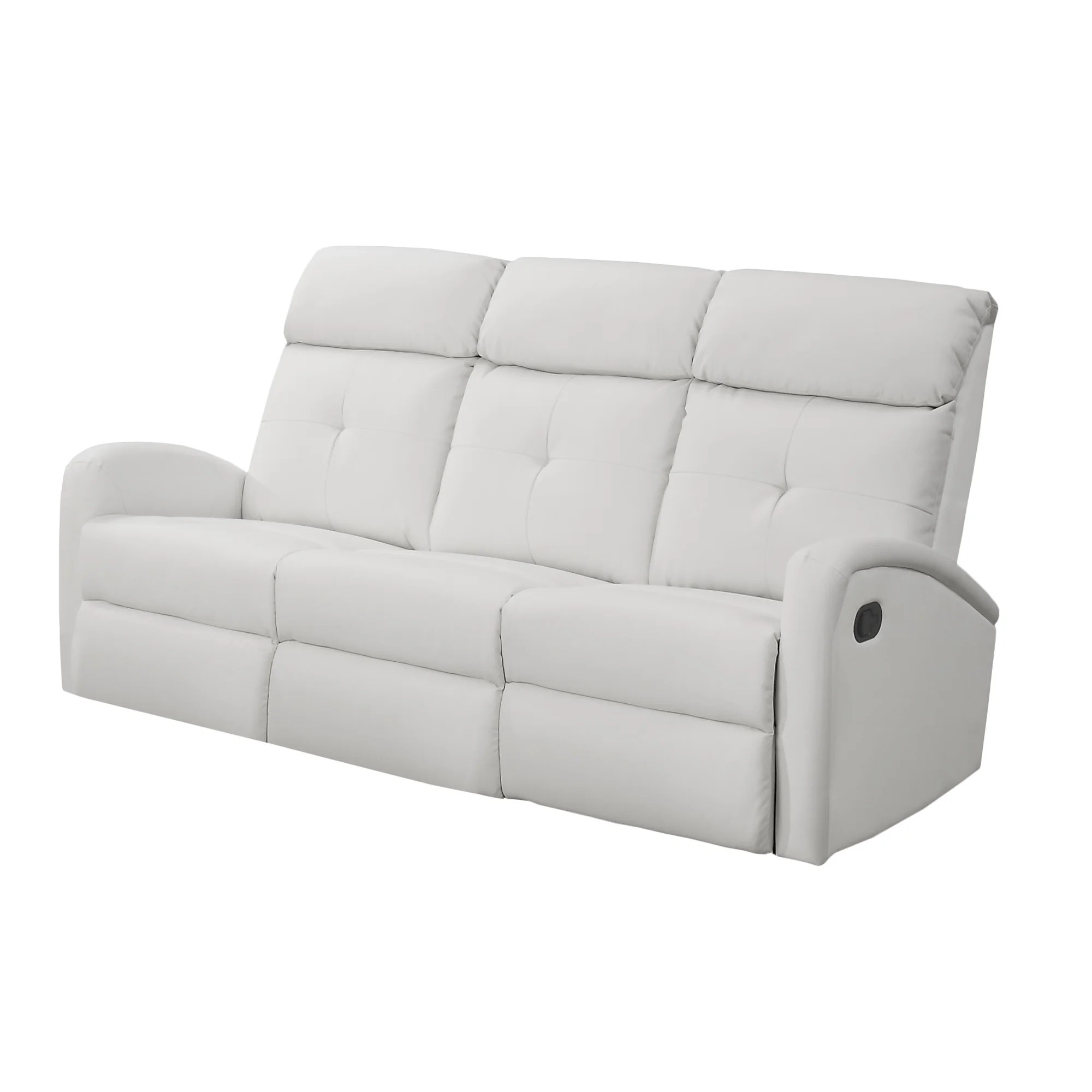 White Leather Recliners Monarch White Bonded Leather Reclining Sofa