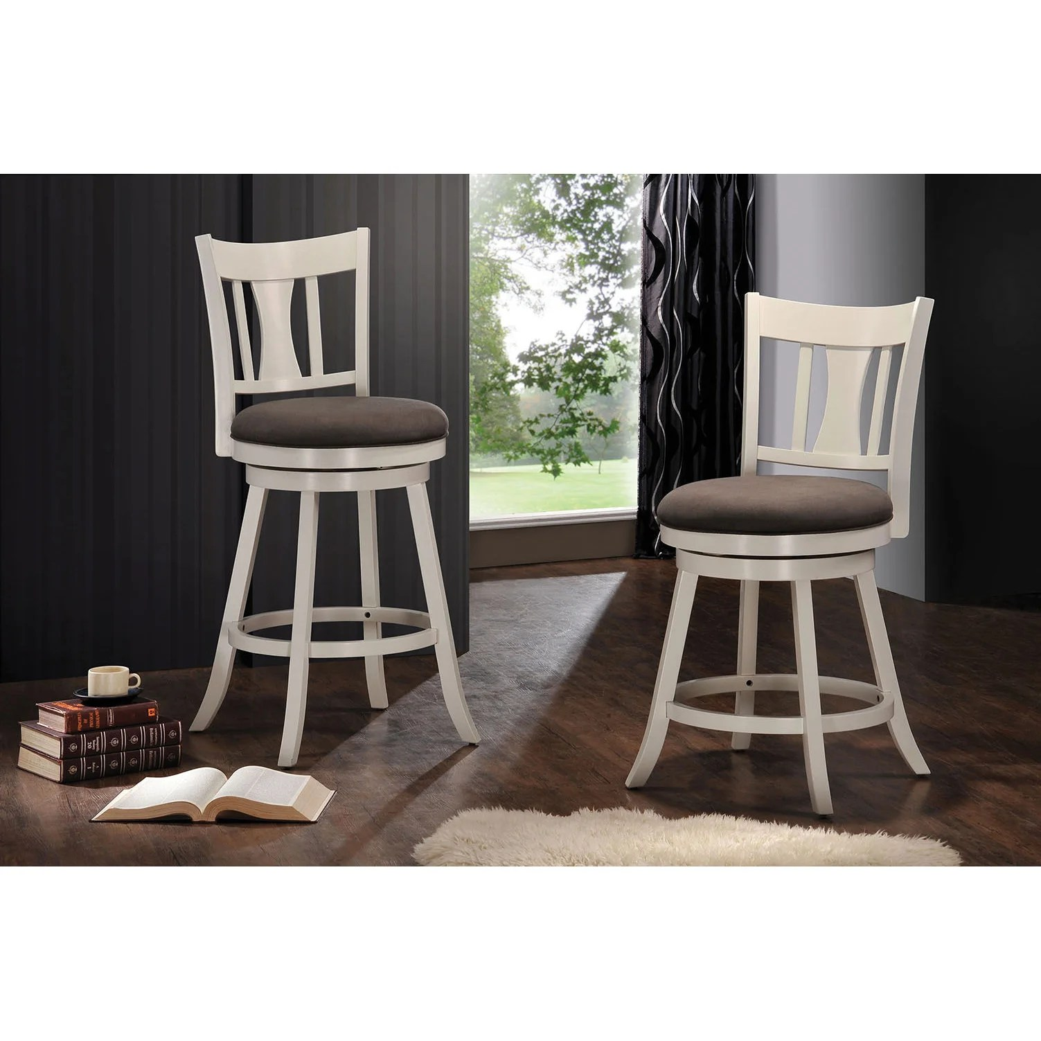 Fabric Counter Height Bar Stools Tabib Fabric And White Wood Counter Height Chair With Swivel