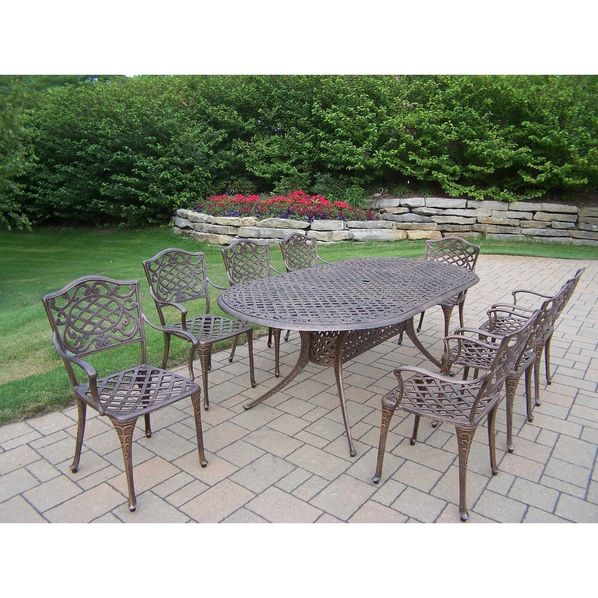 9 Piece Outdoor Dining Set Dakota Cast Aluminum 9 Piece Outdoor Dining Set