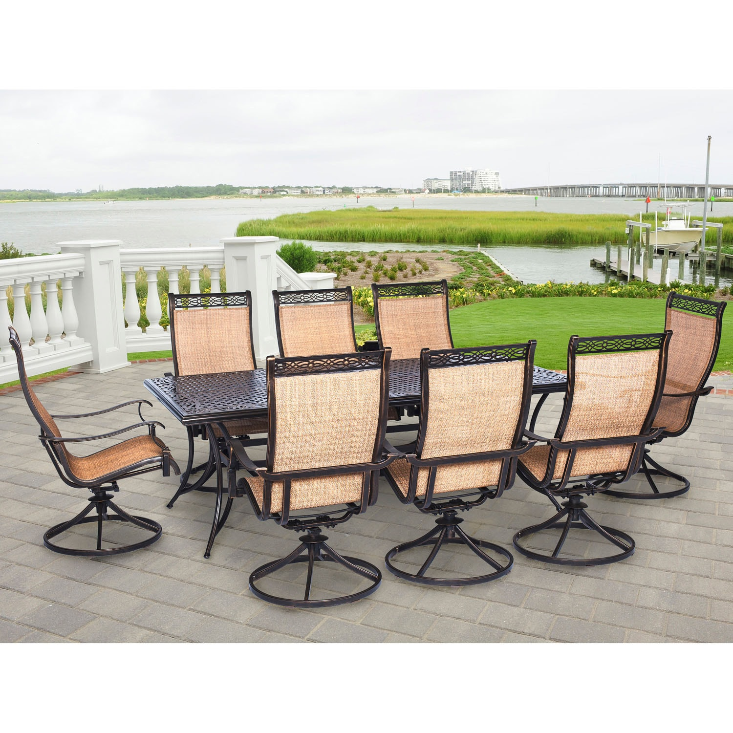 9 Piece Outdoor Dining Set Hanover Outdoor Mandn9pcsw 8 Manor 9 Piece Outdoor Dining Set With Eight Swivel Rockers