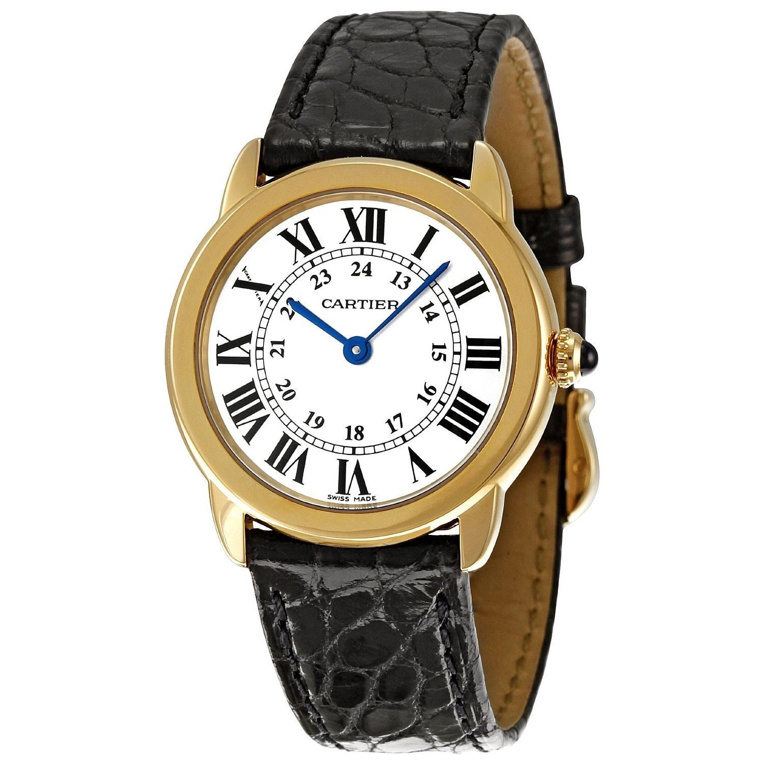 Cartier Watches Cartier Women S W6700355 Ronde Solo 18kt Yellow Gold Black Leather Watch