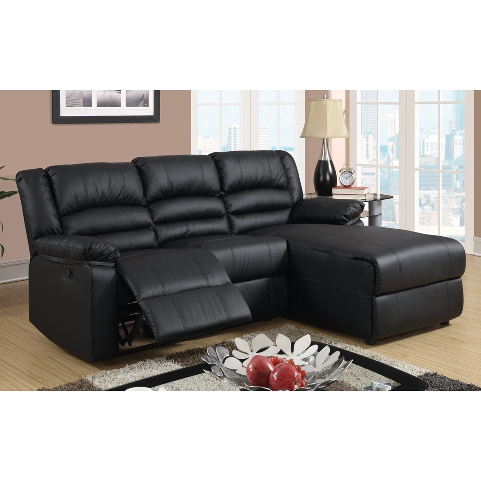Leather Sectional Sofa Recliner Modern Bonded Leather Small Space Sectional Reclining Sofa With Chaise