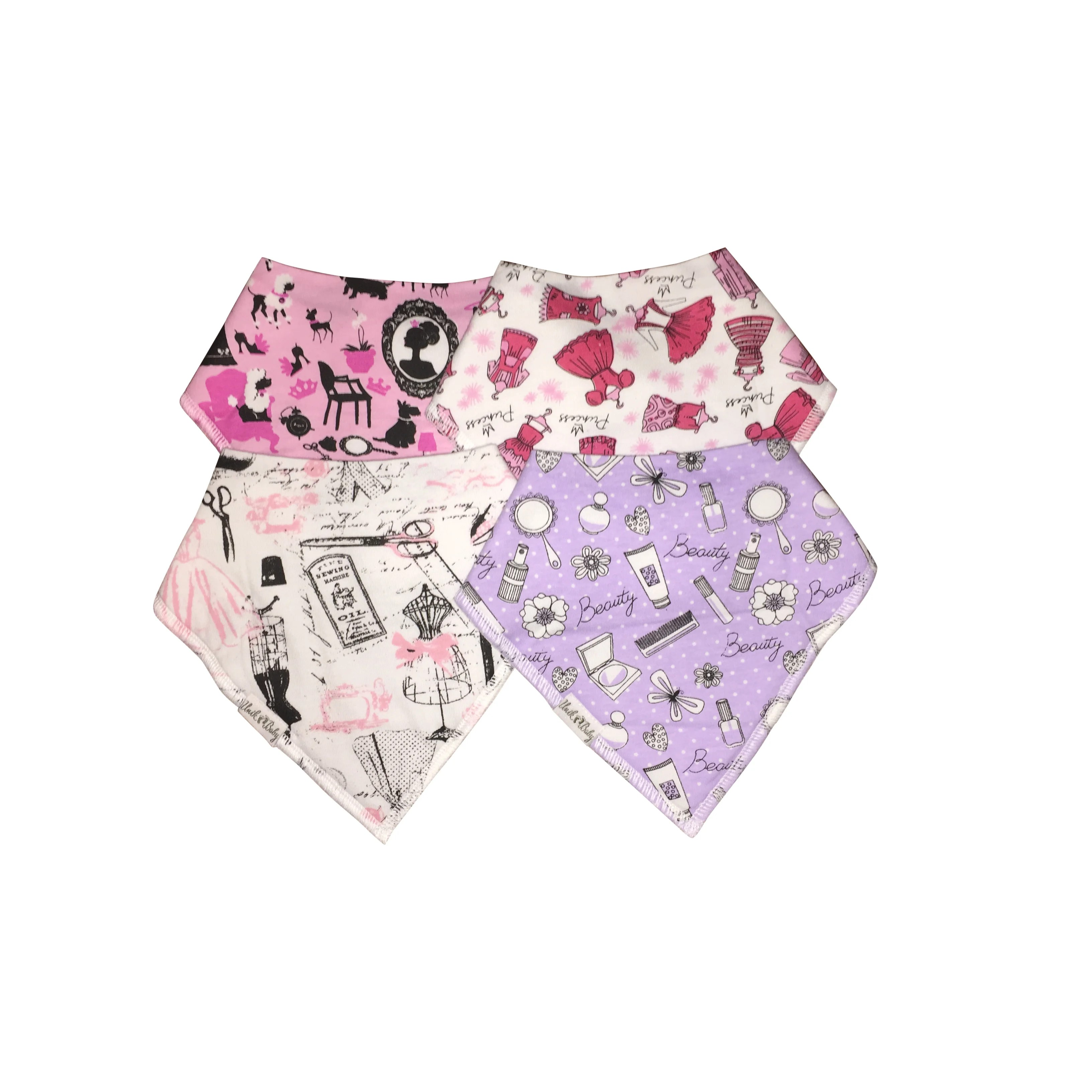 Piece Unik Unik Baby Girls Organic Cotton 4 Piece Bandana Drool Bib Set