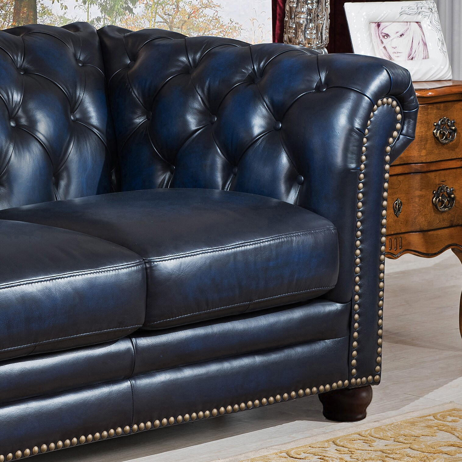Chesterfield Sofa And Chair Blue Hand Rubbed Genuine Leather Chesterfield Sofa Loveseat And Chair Set