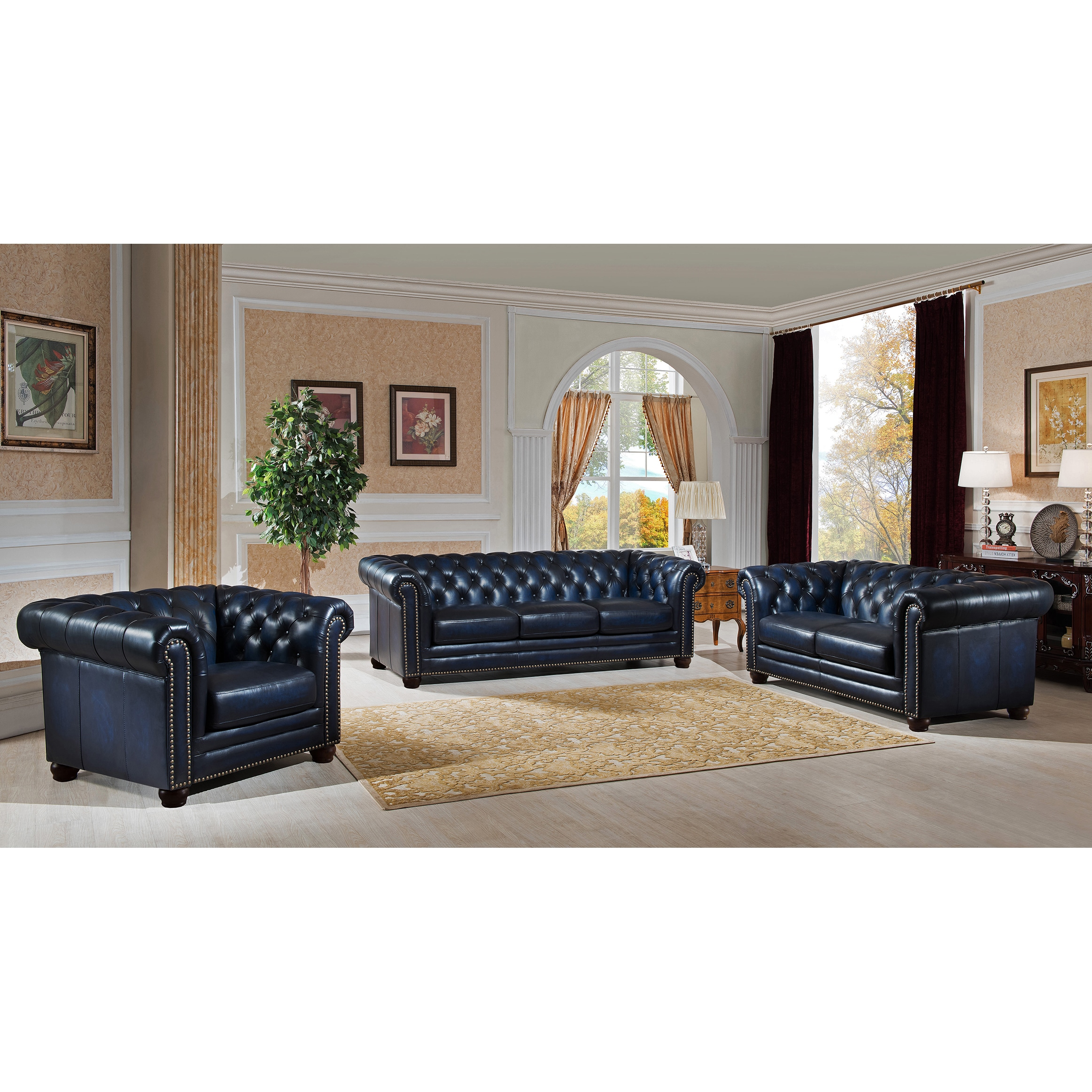 Sofa In Chesterfield Look Blue Hand Rubbed Genuine Leather Chesterfield Sofa Loveseat And Chair Set