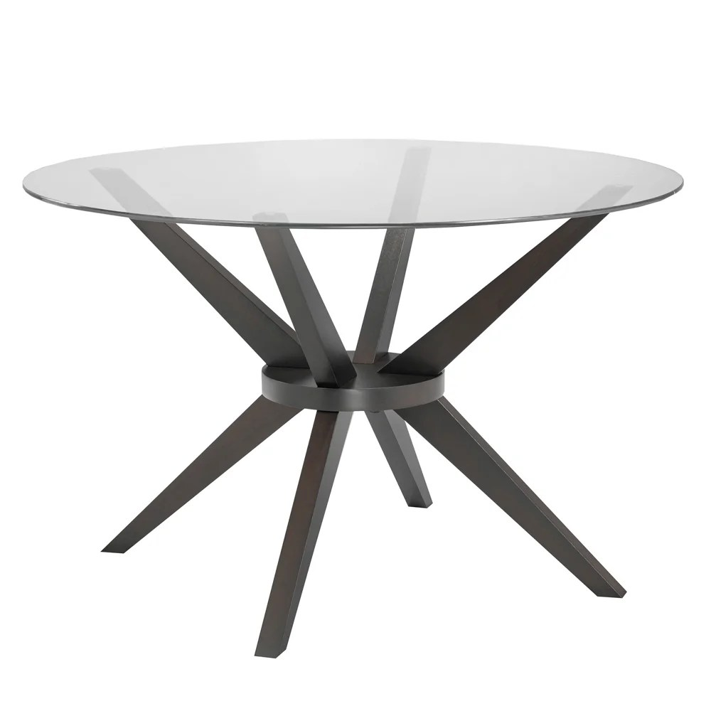 Modern Round Glass Dining Table Modern Round Glass And Wood Dining Kitchen Table