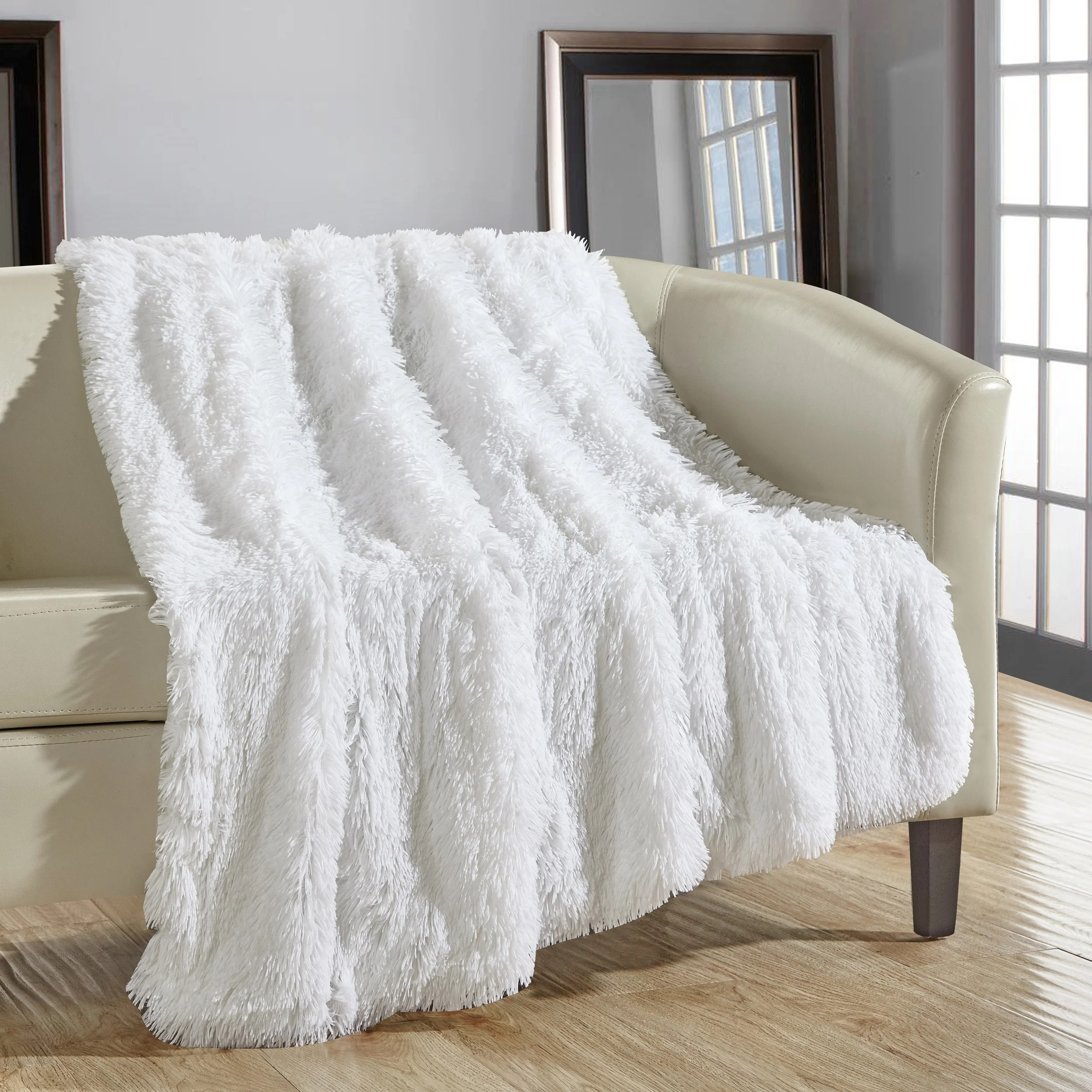 Throw Blankets Chic Home Juneau Faux Fur White Throw Blanket
