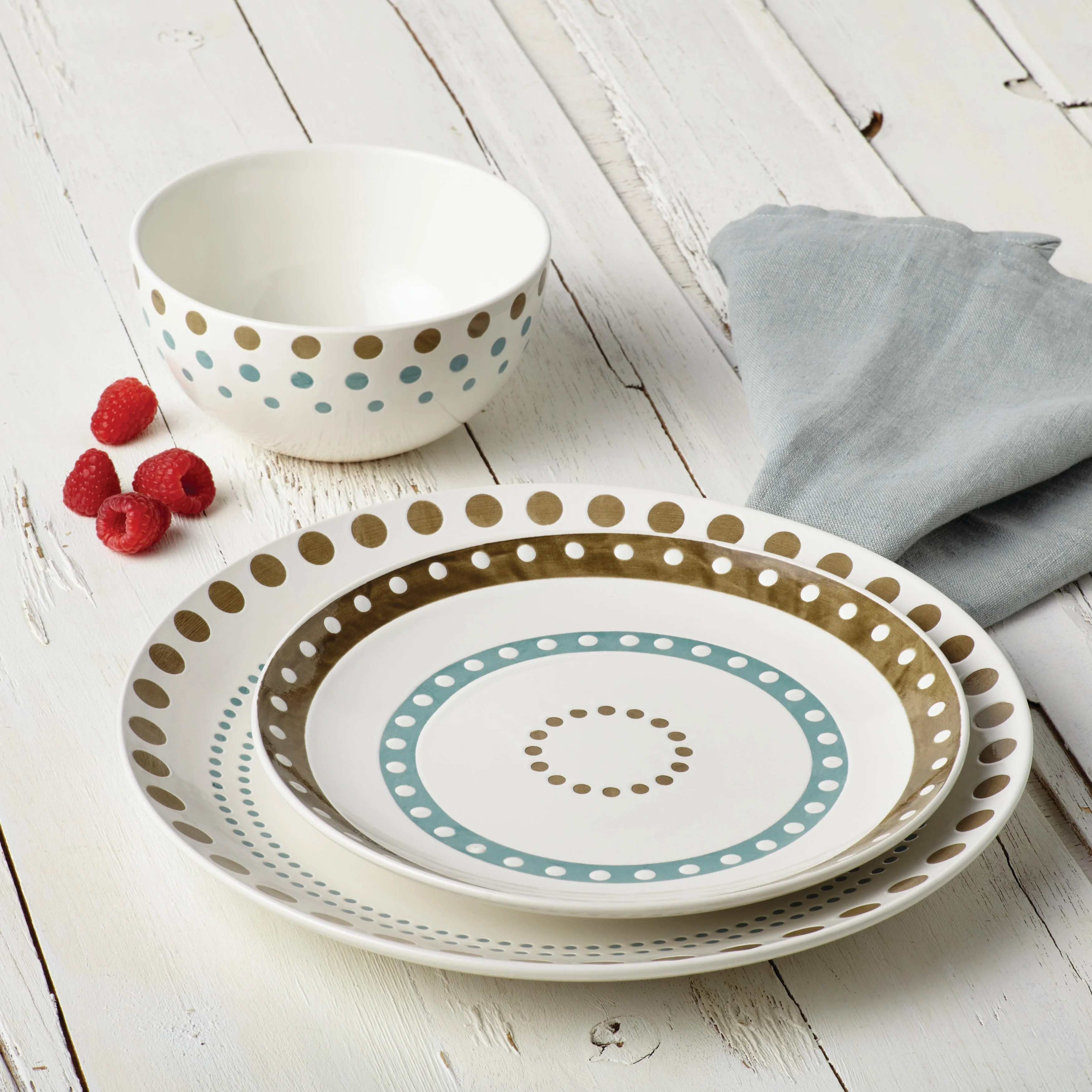 Set Da Cucina Exclusive Rachael Ray Cucina Circles And Dots Dinnerware 5 1 2 Inch Stoneware Cereal Bowl Agave Blue And Mushroom Brown