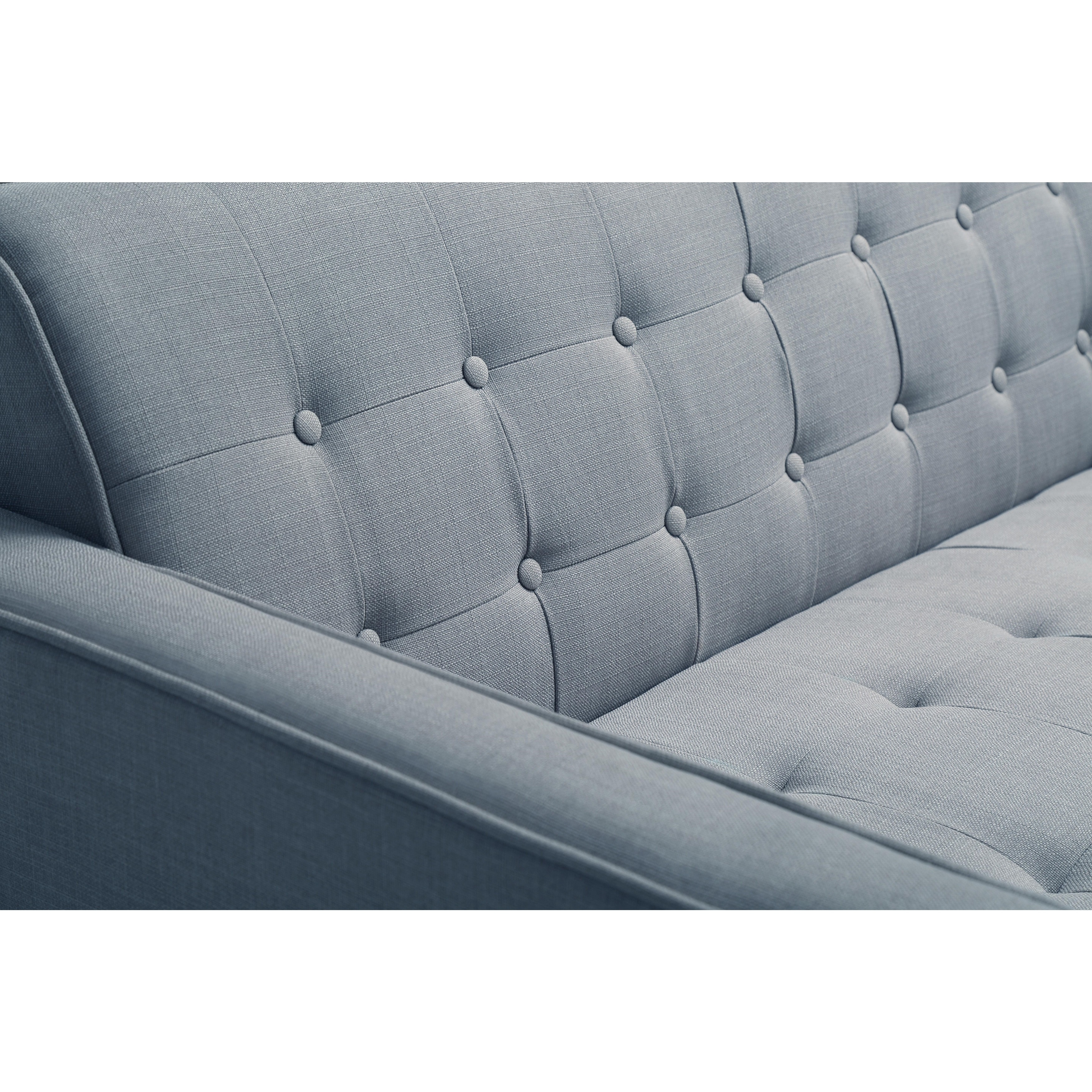 Air Sofa ár Porch Den Halsey Tufted Blue Linen Sofa