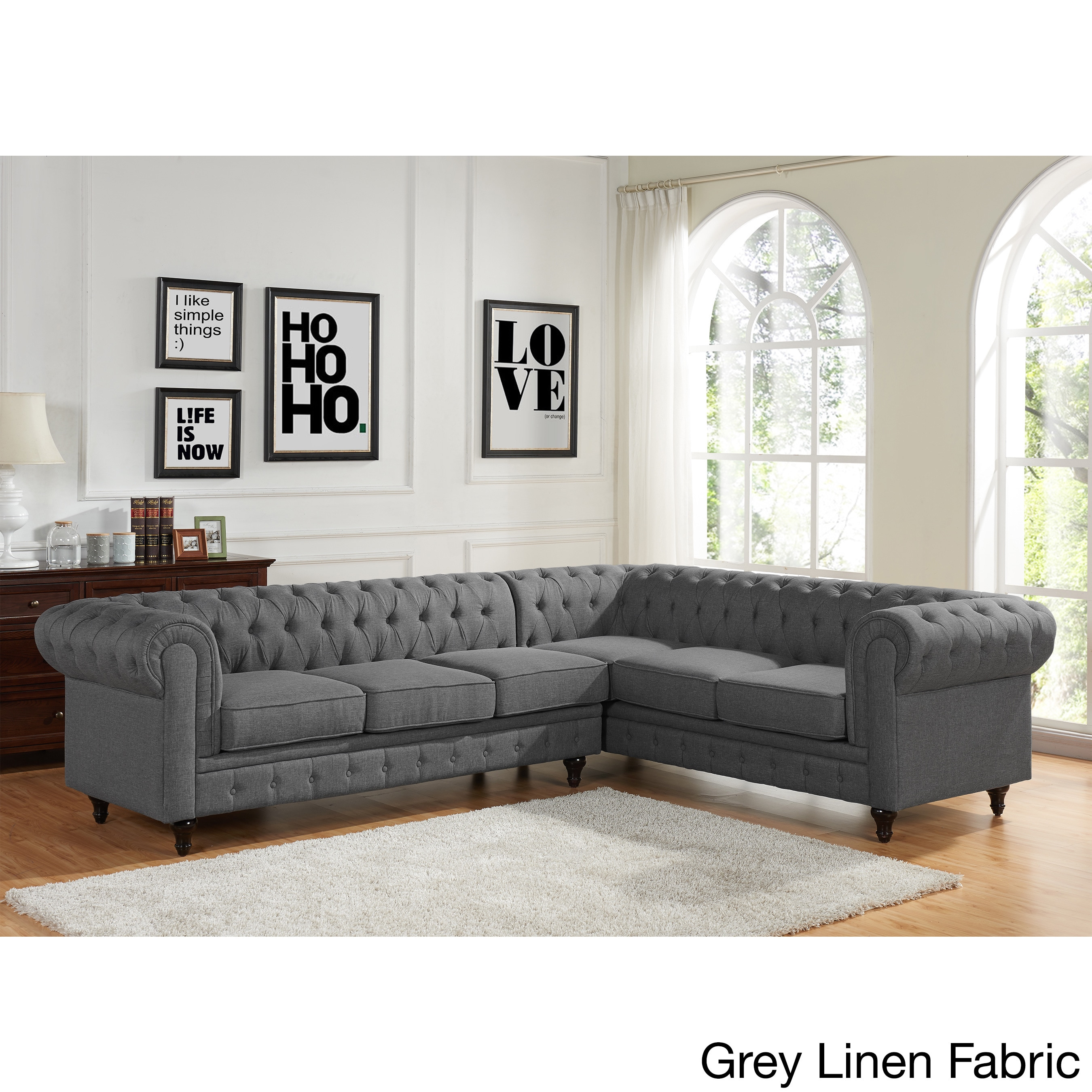 New Style Sofa Set Design Sophia Modern Style Tufted Rolled Arm Left Facing Chaise Sectional Sofa