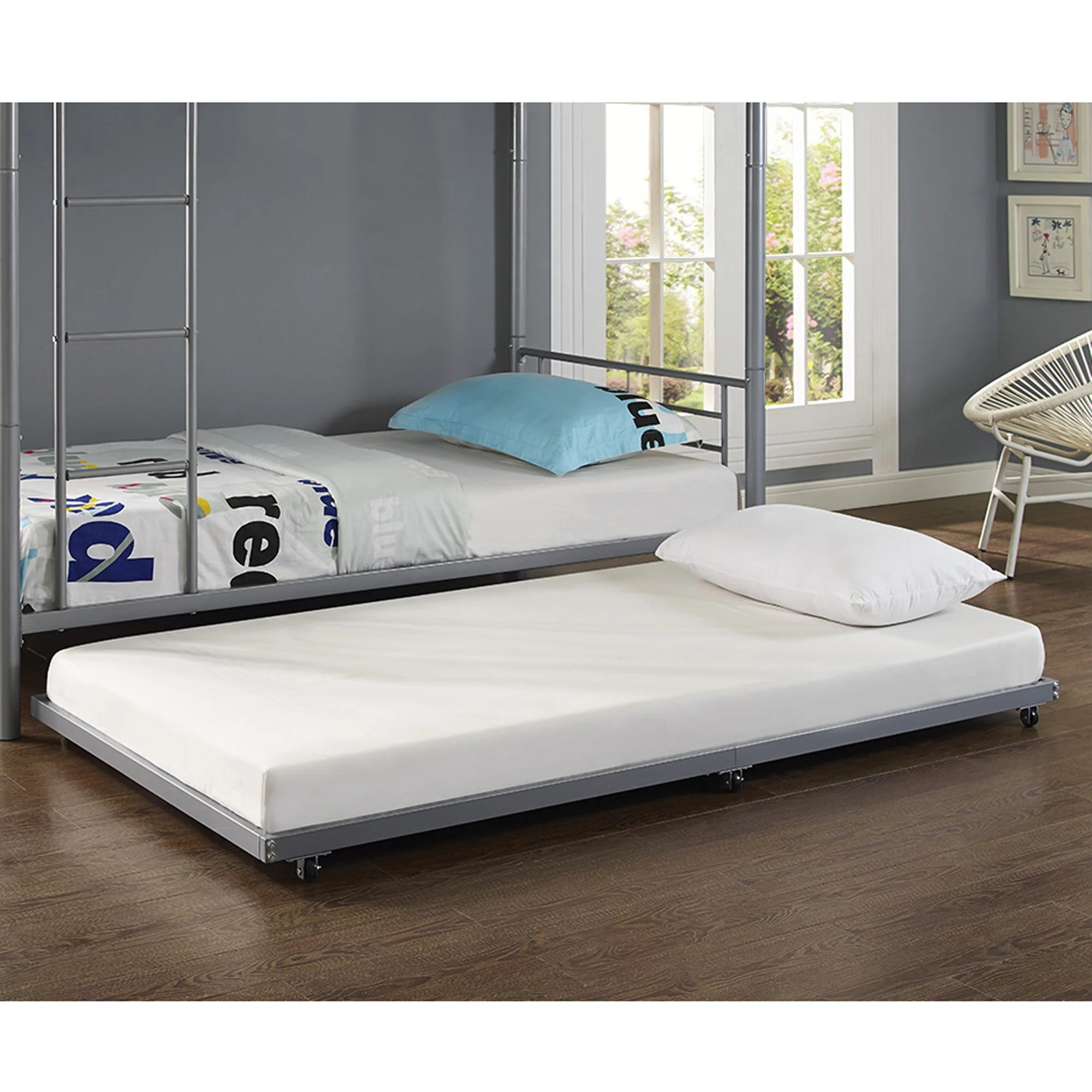 Discount Trundle Beds Metal Roll Out Twin Trundle Bed Frame Silver