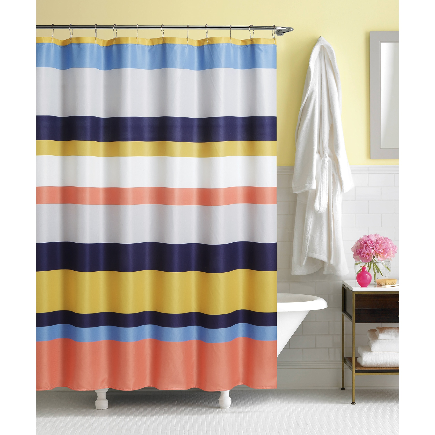 Linen Stripe Shower Curtain Bright Stripe By Artisitc Linen Easy To Hang Rainfall Collection Polyester Shower Curtain
