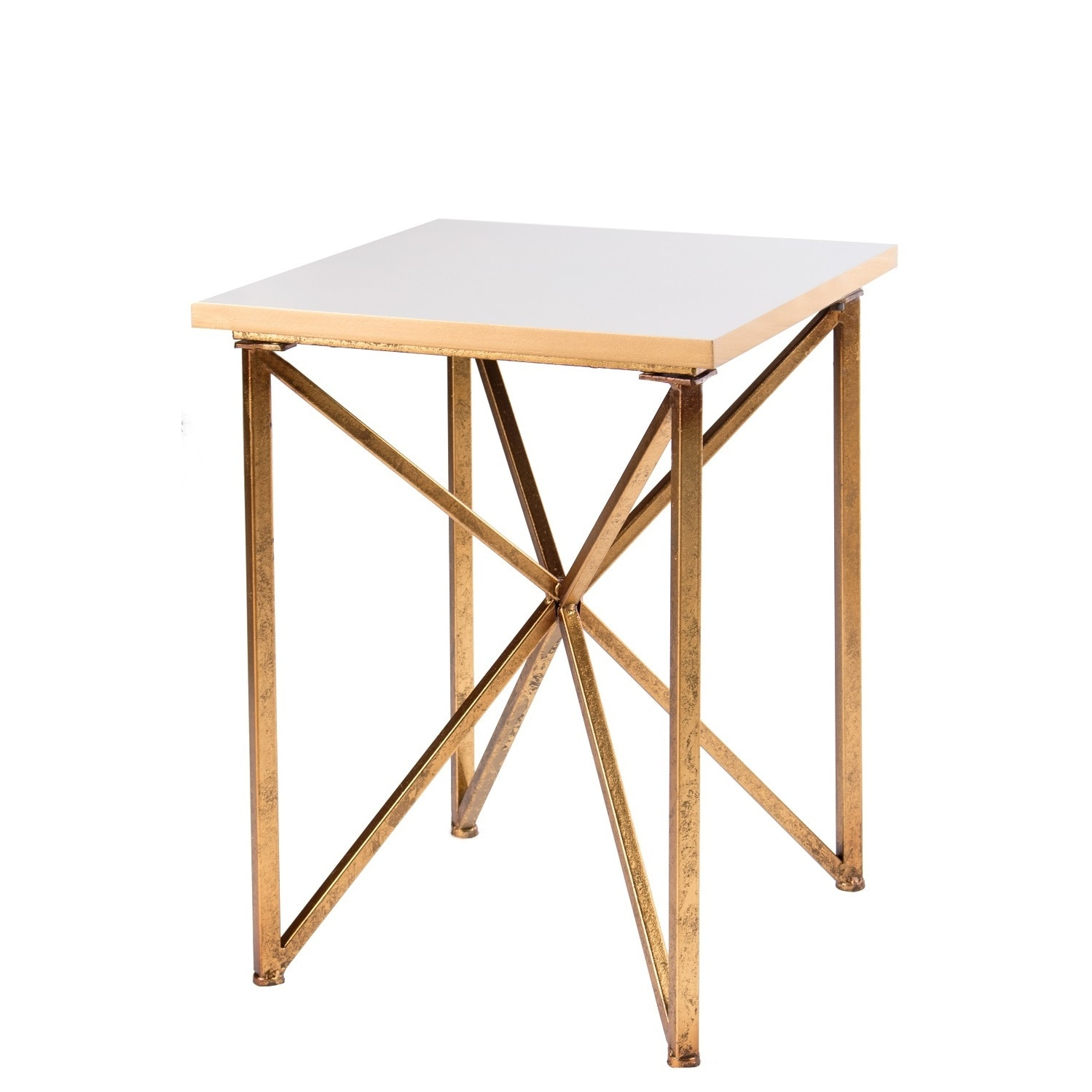 Table Metal Blanc Blanc White Gold Wood Metal Marble Square Side Table