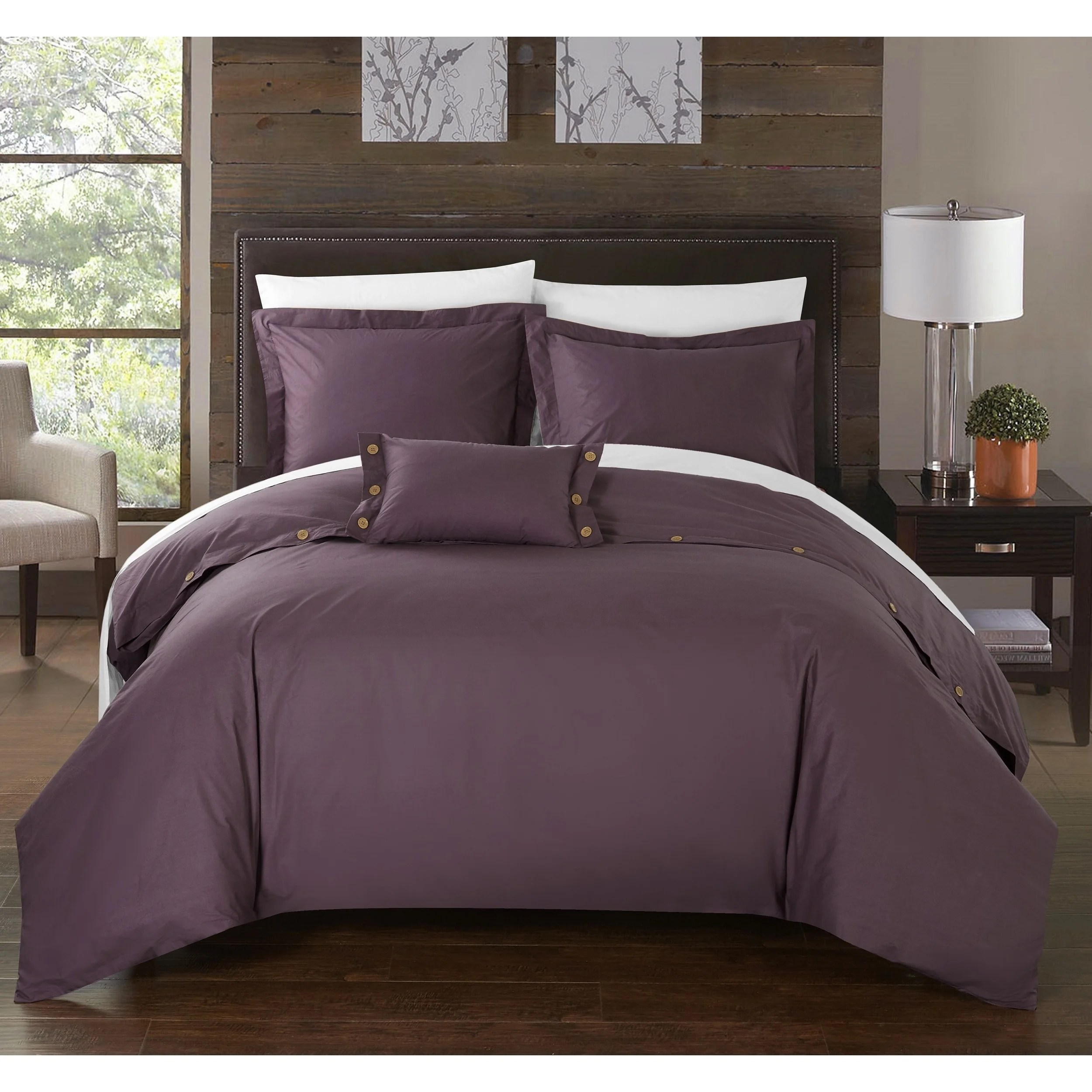 Plum Duvet Cover Chic Home 8 Piece Astrid Bed In A Bag Purple Duvet Set