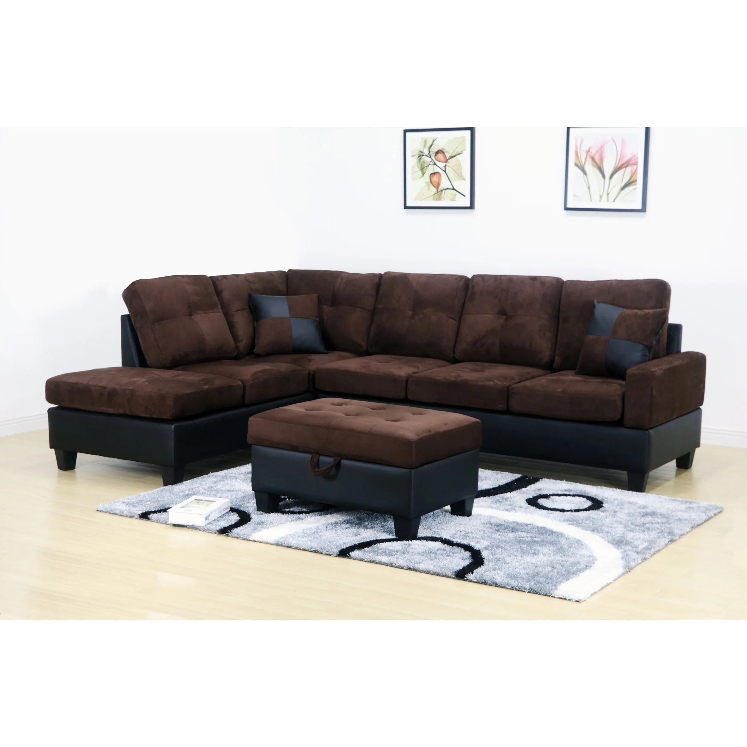 Brown Sectional Sofa Microfiber | Modern Scenic Sofa Red And Sofas ...