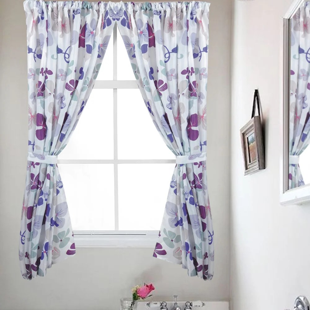 Bathroom Window Covering Violet Floral Print Fabric 34 X 54 Bathroom Window Curtain Panel Pair Set Of 2