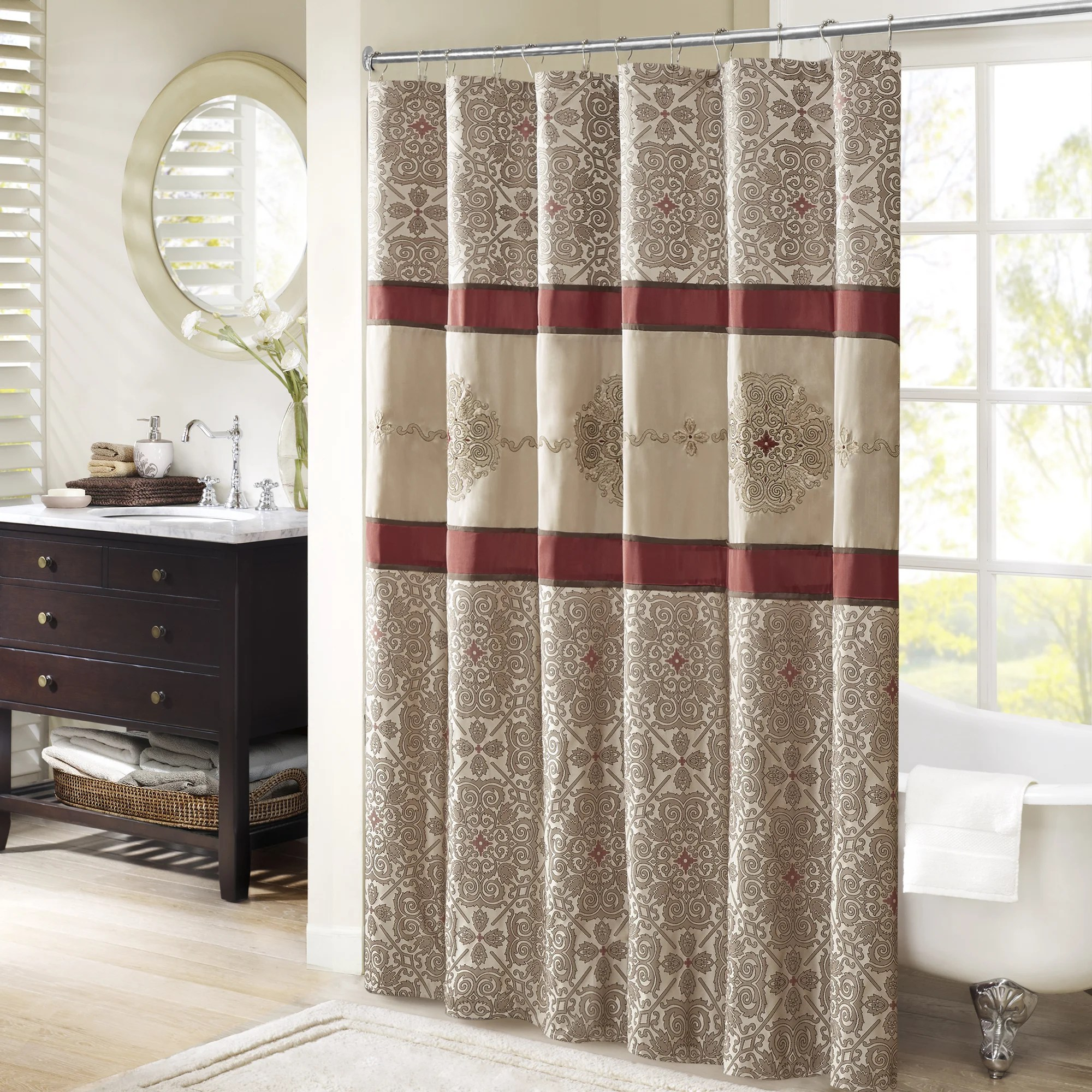 Red And Brown Shower Curtain Madison Park Blaine Red Jacquard Shower Curtain With Embroidery