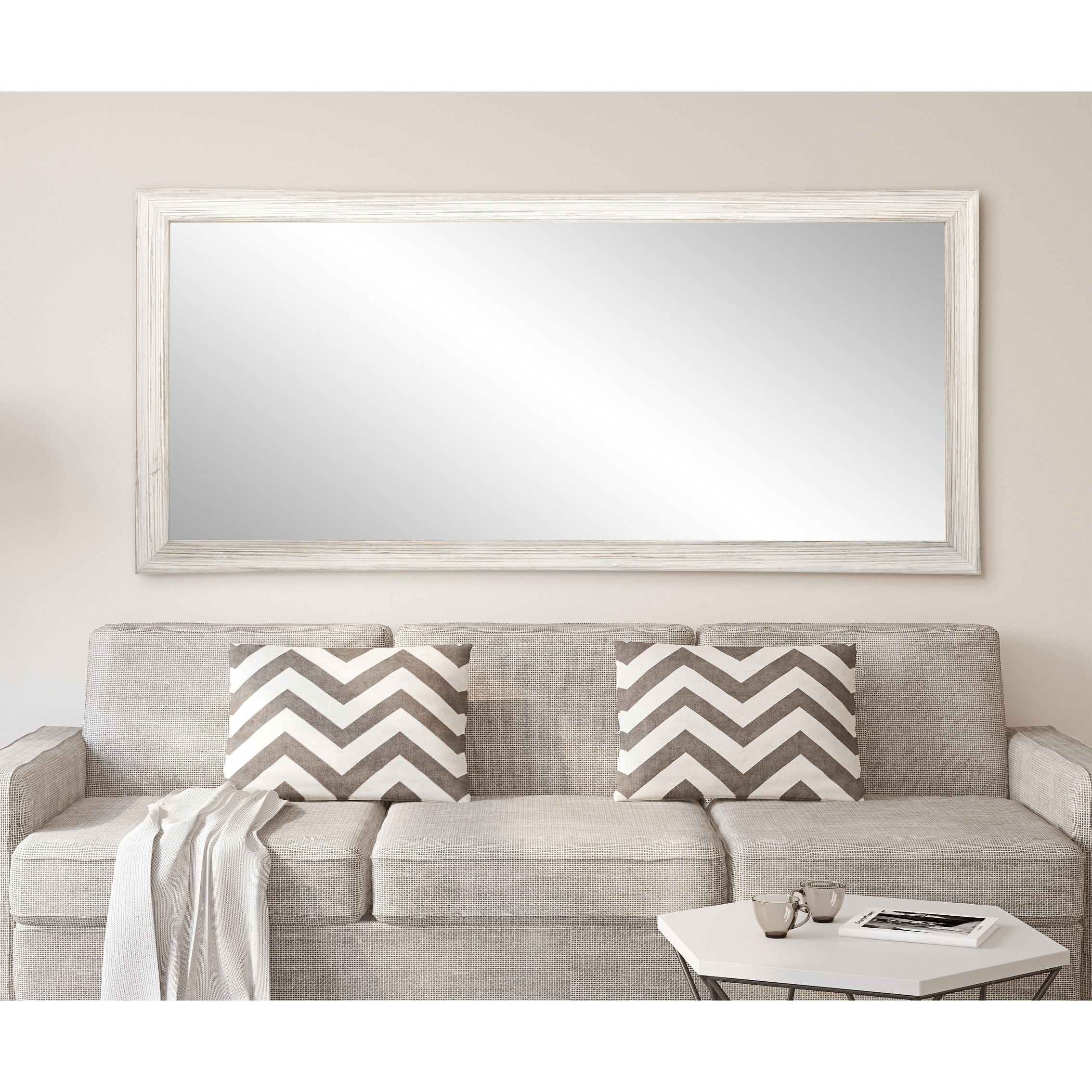 White Floor Mirror Multi Size Brandtworks Distressed Coastal White Wood Floor Mirror White Grey
