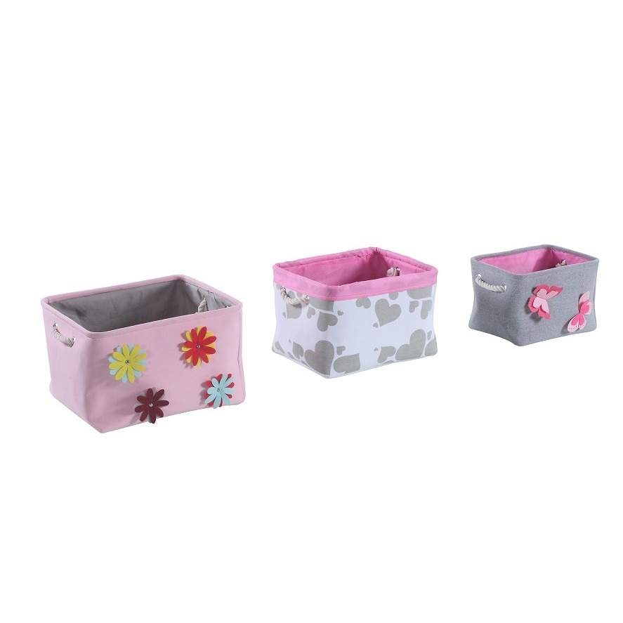 Pink Bins 3 Piece Grey Pink Spring Storage Bin Set