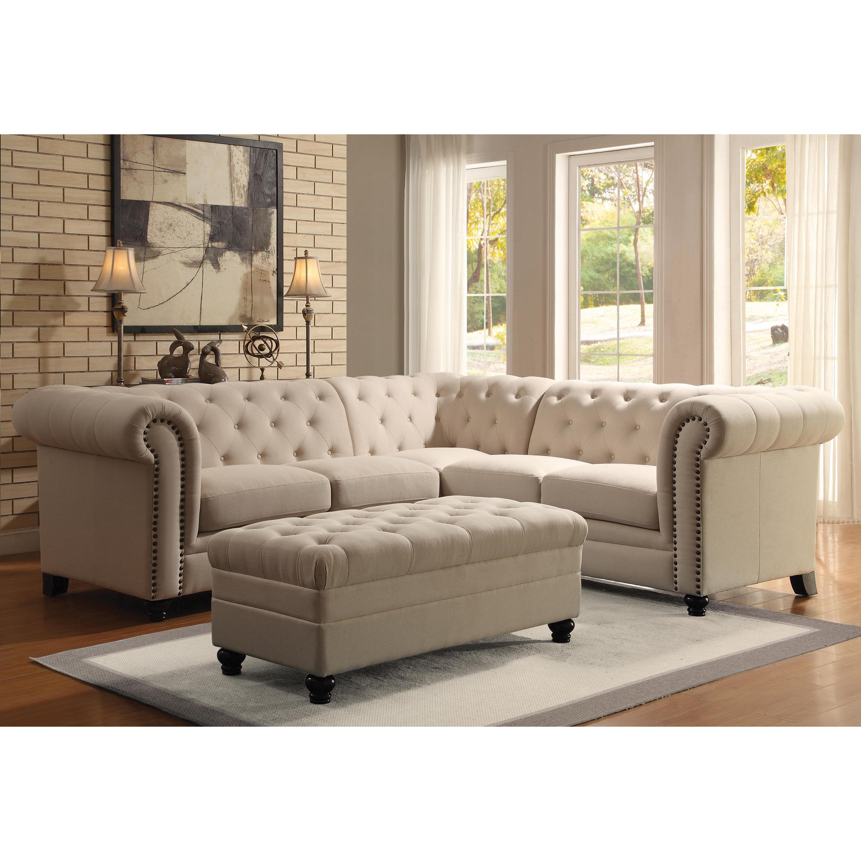 Sofa For Small Living Room Royal Mid Century Button Tufted Design Living Room Sectional Sofa With Decorative Nailhead Trim