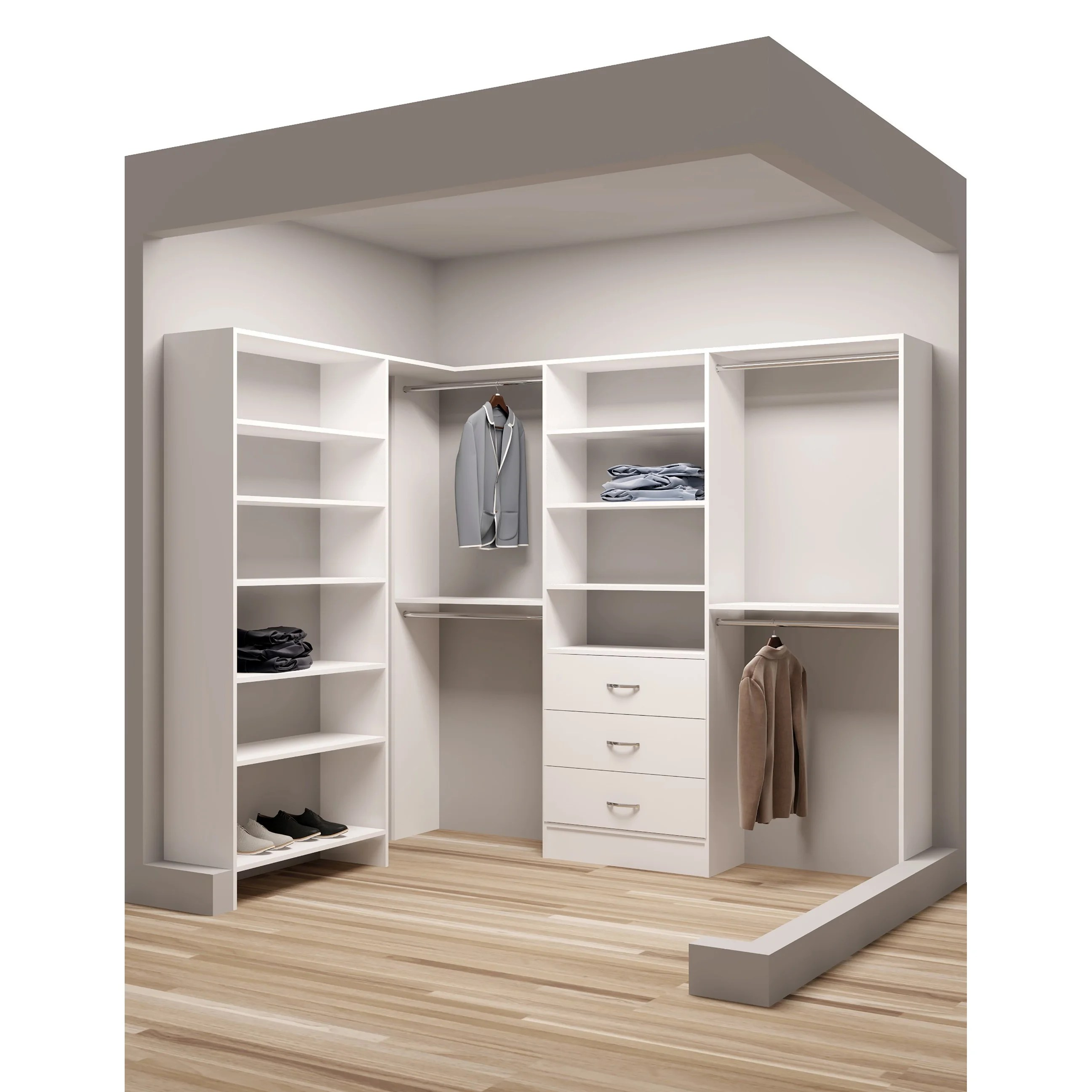 Walkin Closet Cabinets Tidysquares White Wood 67 X 93