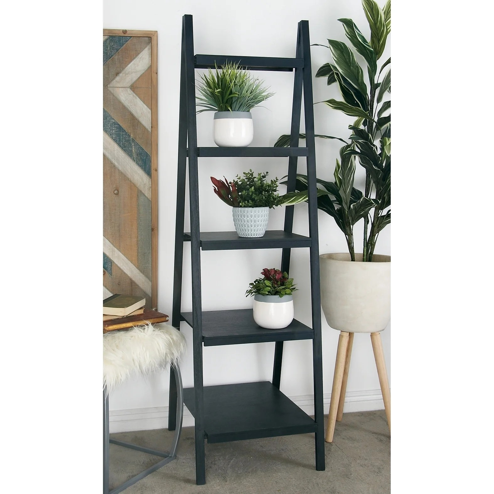 Etagere Otto Contemporary 65 X 22 Inch Dark Gray Wooden Book Shelf By Studio 350