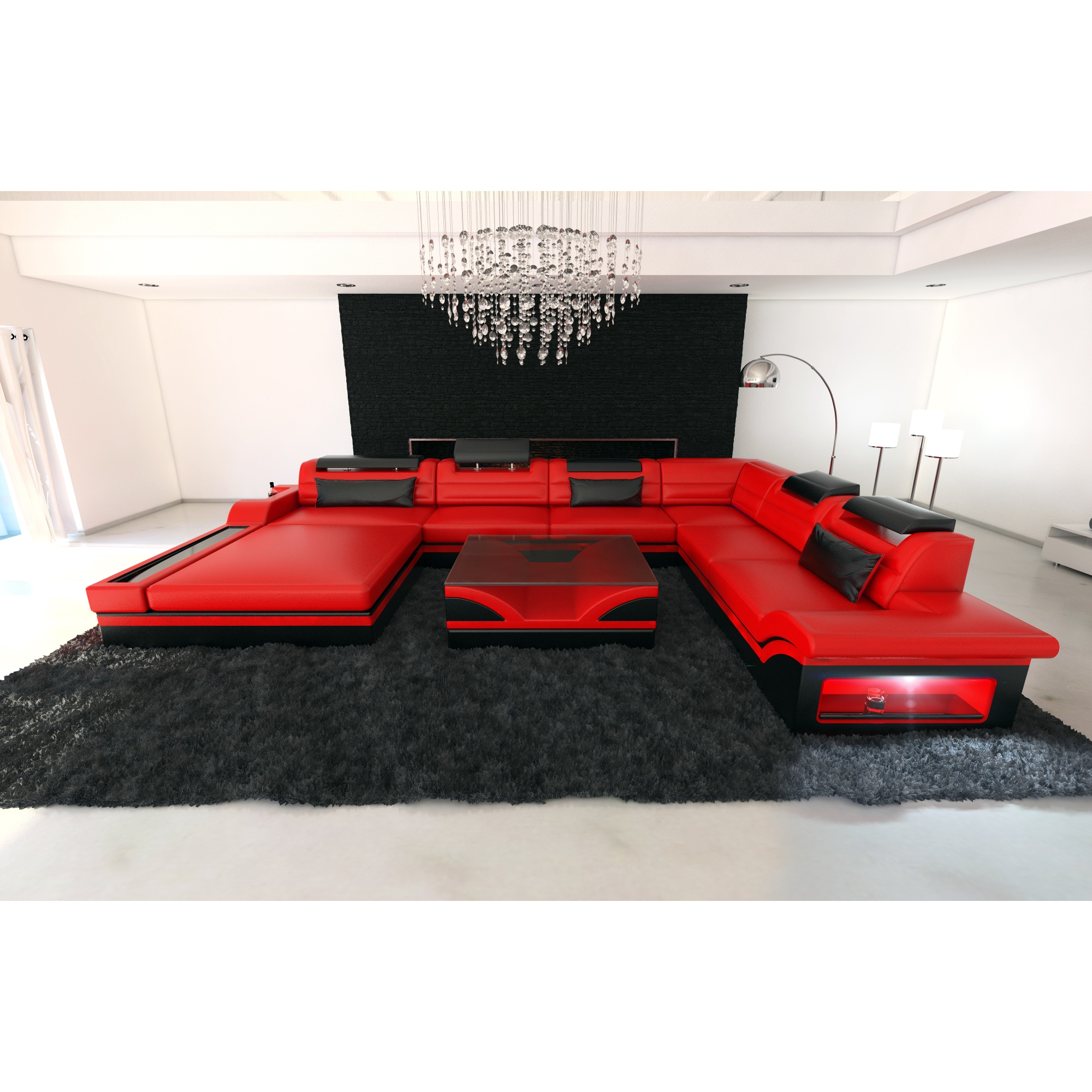 Xxl Sofa Design Design Red Leather Sectional Sofa Orlando Xxl With Led Lights