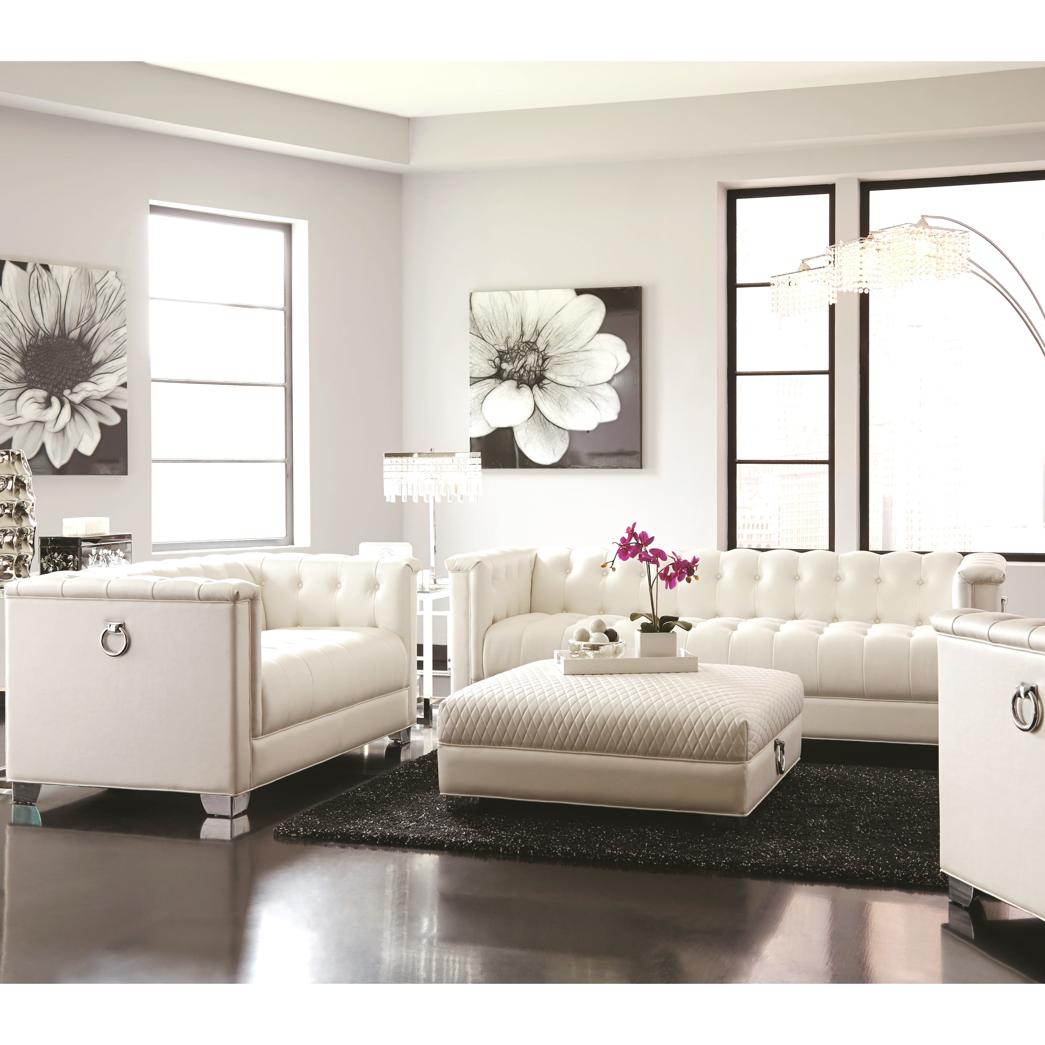 Sofa For Small Living Room Classic Mid Century Button Tufted Design Living Room Sofa Collection With Chrome Doorknocker Handles