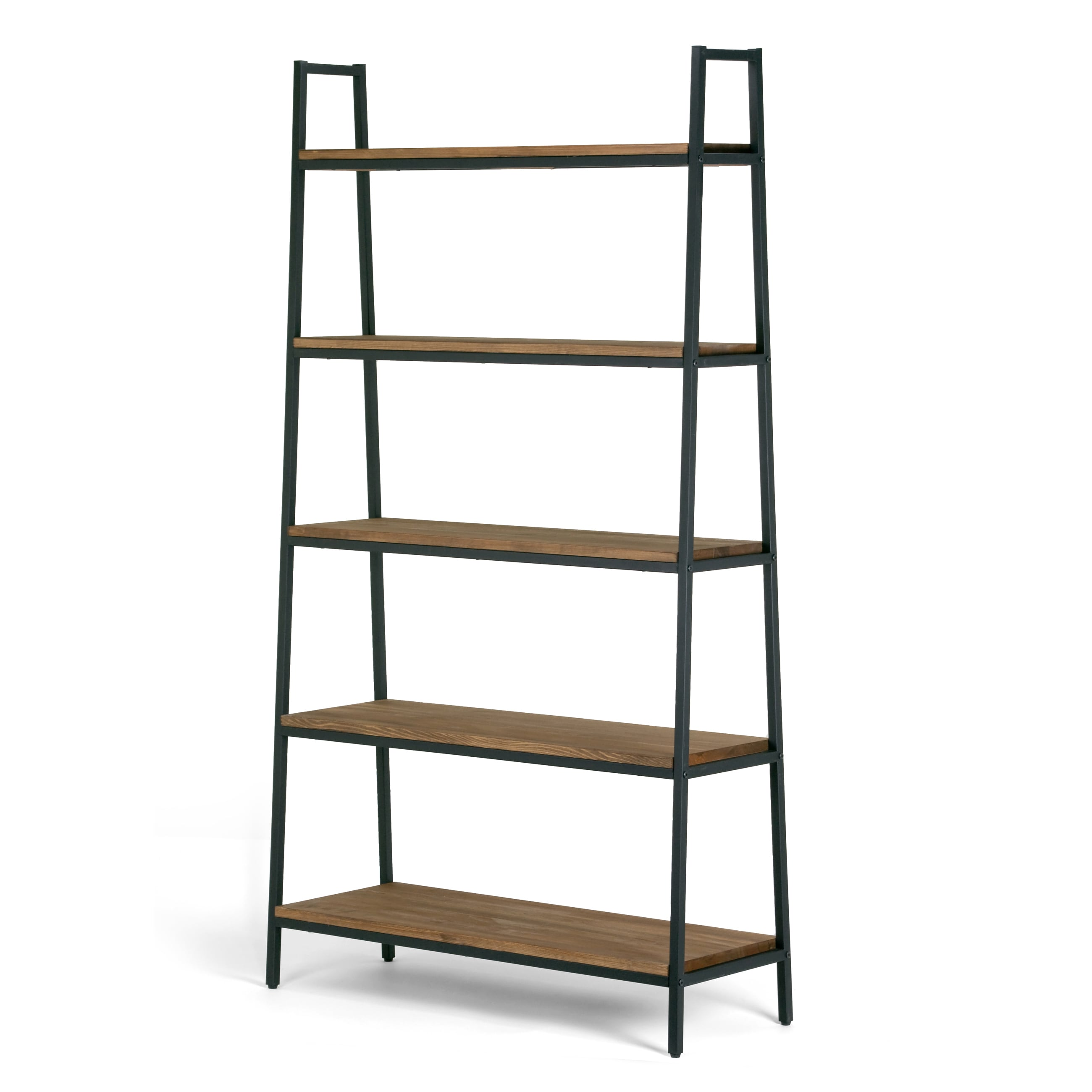 Etagere Metal Ailis Brown Pine Wood Metal Frame 71 5 Inch 5 Shelf Etagere Bookcase And Media Tower
