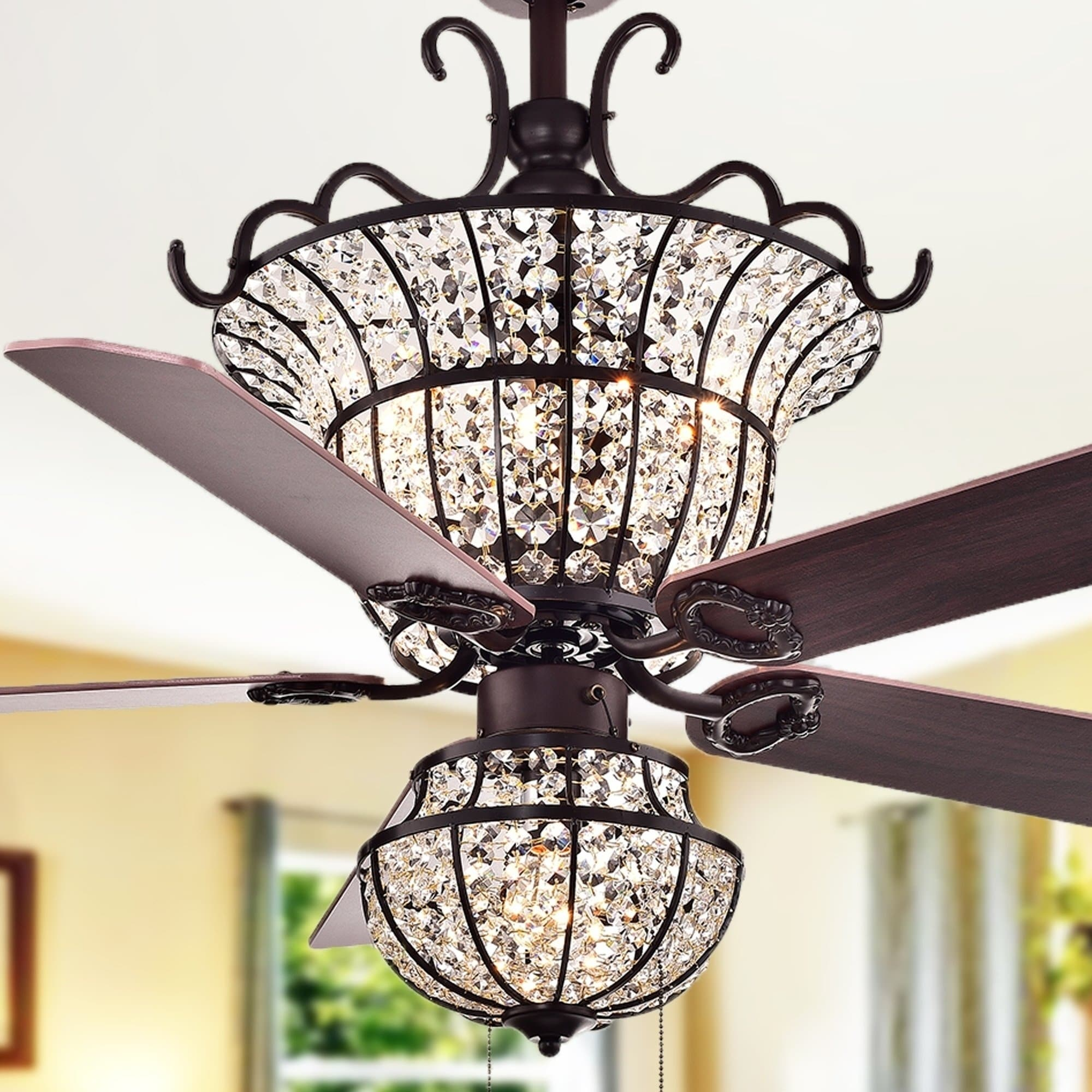 Vintage Looking Fan Charla 4 Light Crystal 5 Blade 52 Inch Chandelier Ceiling Fan Optional Remote 2 Color Option Blades