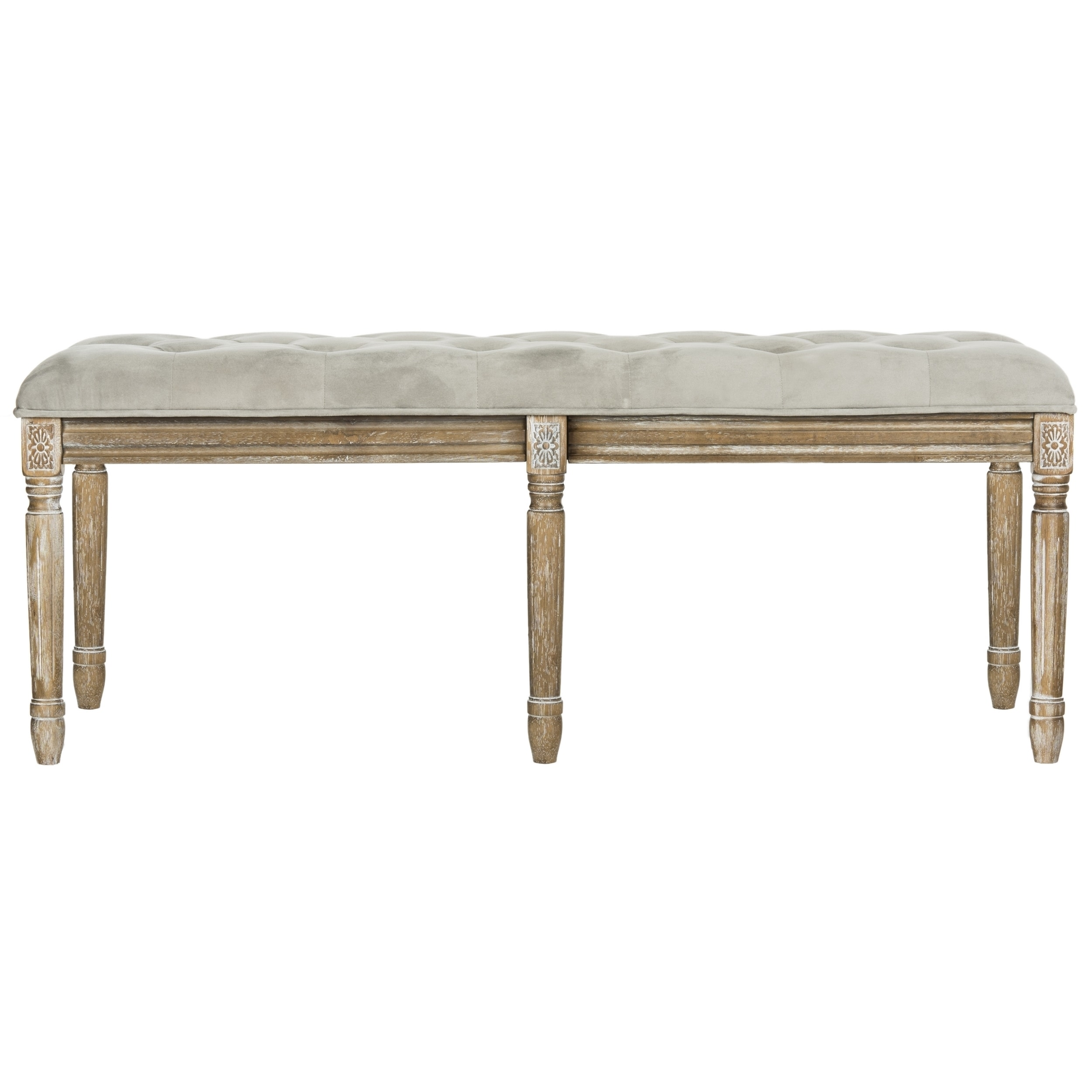 Chaise Brasserie Safavieh Rocha French Brasserie Tufted Rustic Wood Grey Bench 47 3