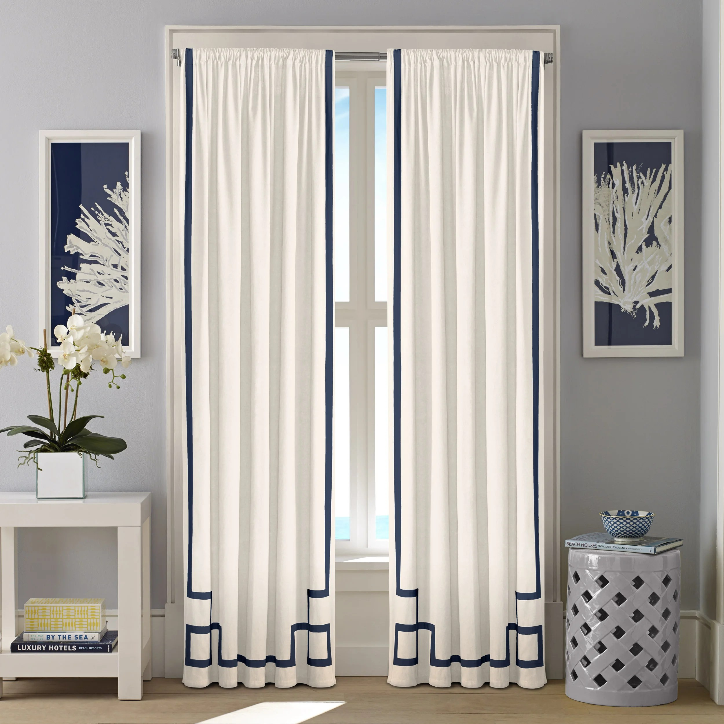 Ribbon Trim Curtains Nautica Ribbon Trim Cotton Twill Curtain Panel Set 52 X 84