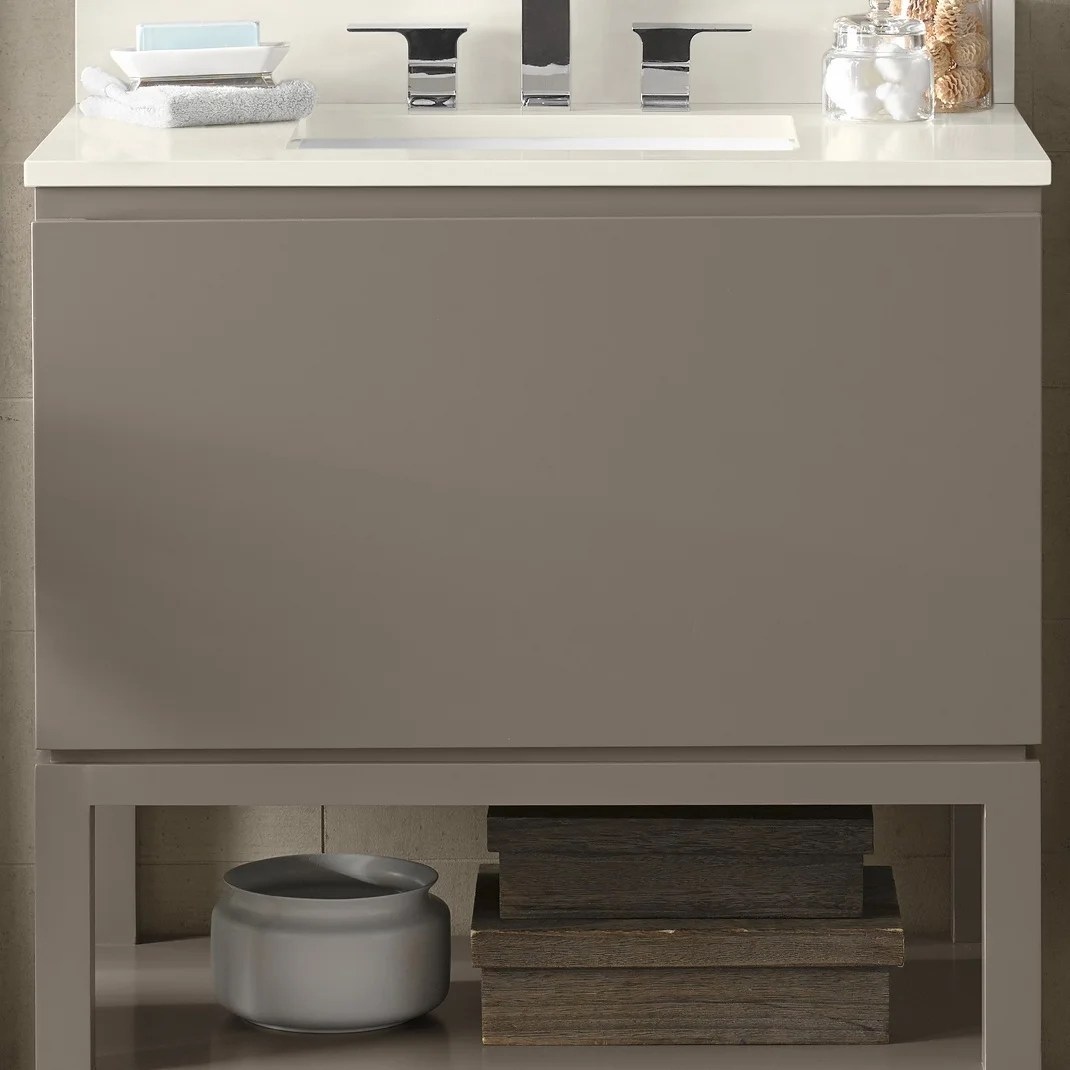 Taupe Quartz Countertop Ronbow Jenna 31 Inch Bathroom Vanity Set In Blush Taupe With Led Mirror Quartz Countertop With White Ceramic Bathroom Sink
