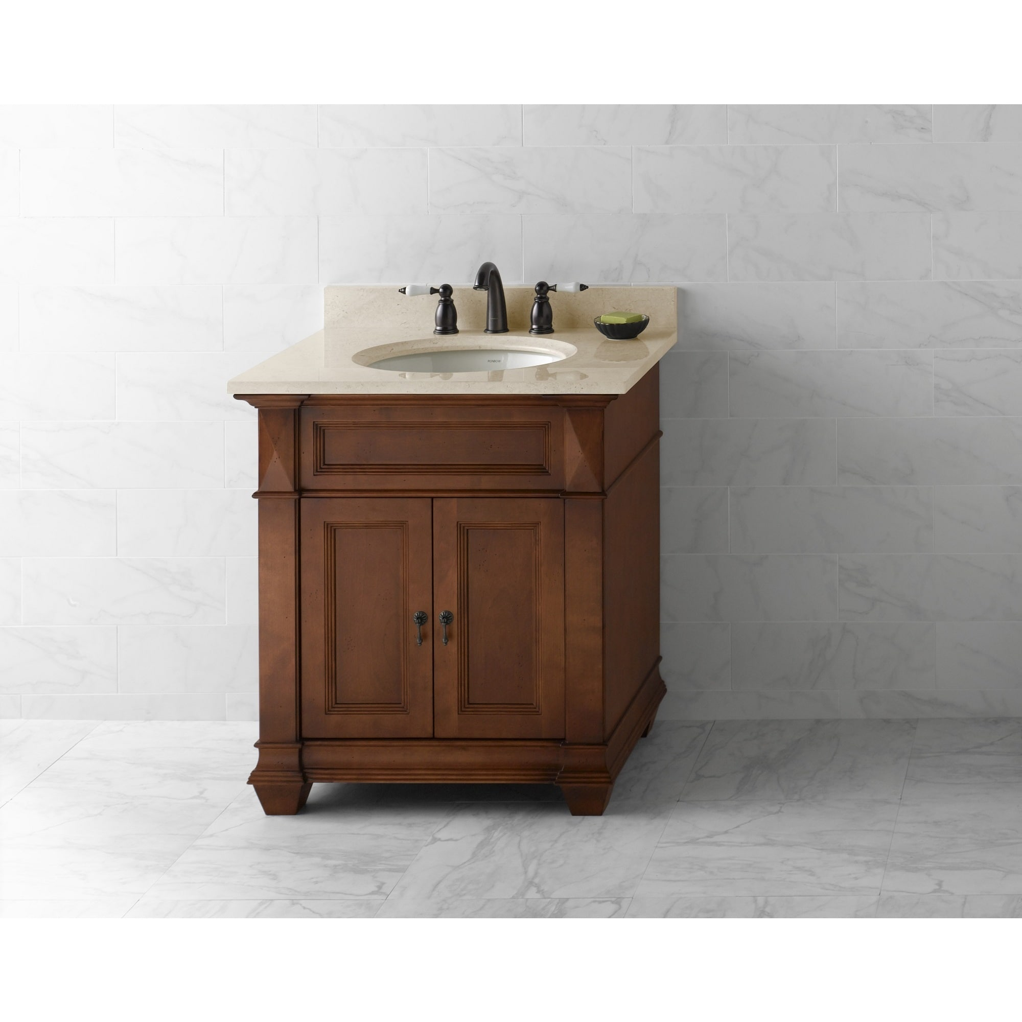 Bathroom Vanity 30 Inch Ronbow Torino 30 Inch Bathroom Vanity Set In Colonial Cherry Marble Top And Backsplash With White Oval Ceramic Bathroom Sink
