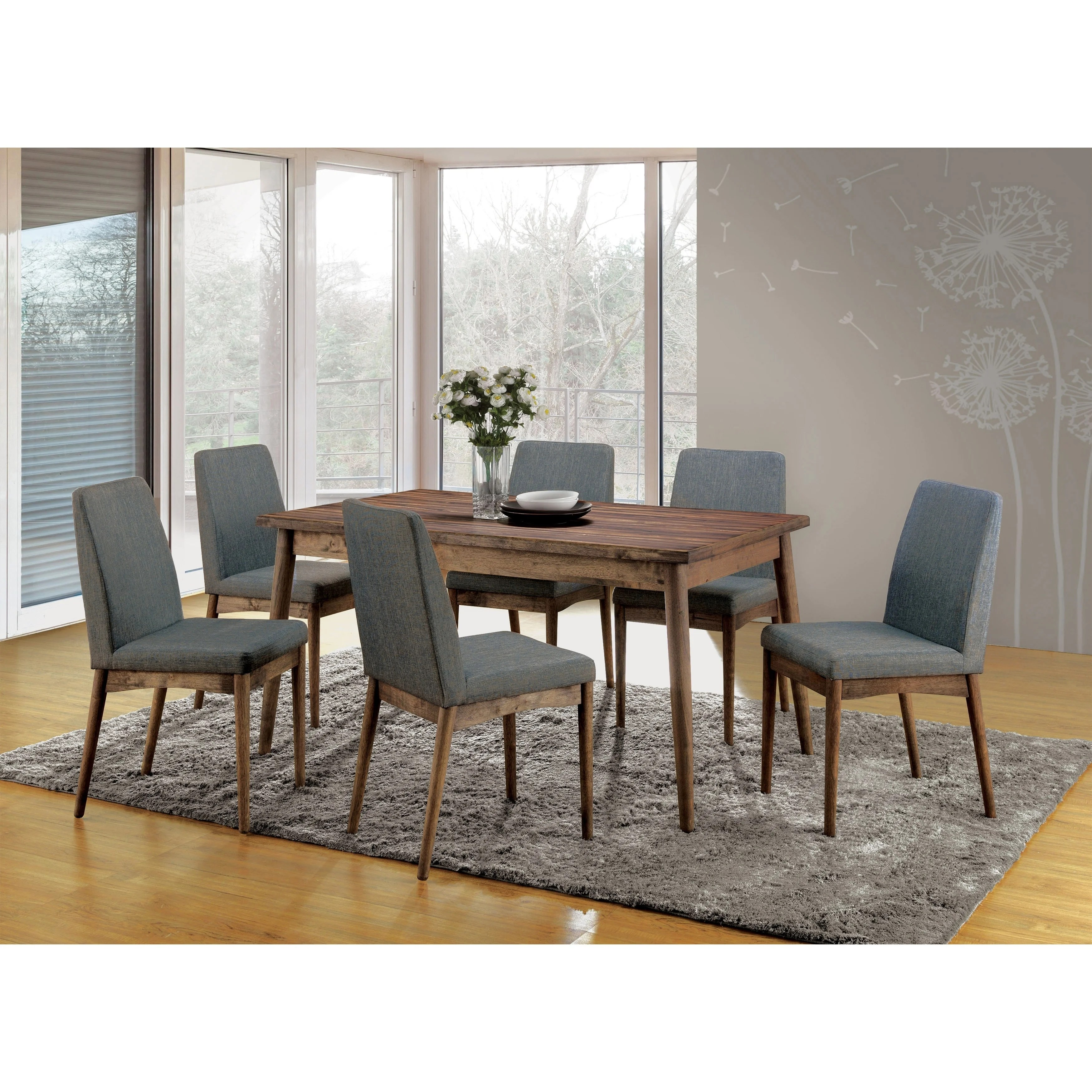 Modern Table And Chairs Reynorth Mid Century Modern Natural Tone 7 Piece Dining Set By Foa
